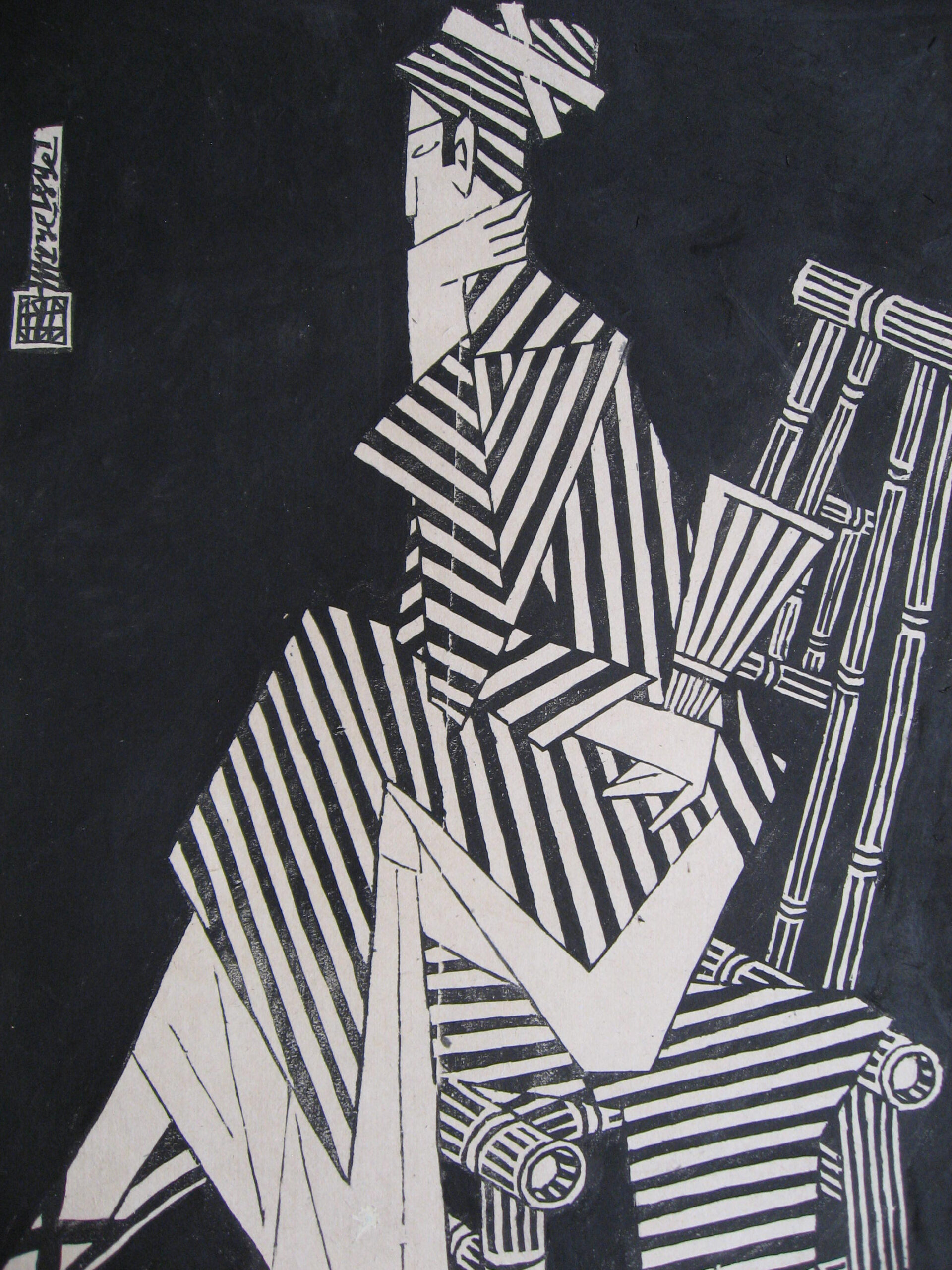 Deep in Thought by Phung Pham, limited edition woodblock print, 2003, 64 x 43 cm