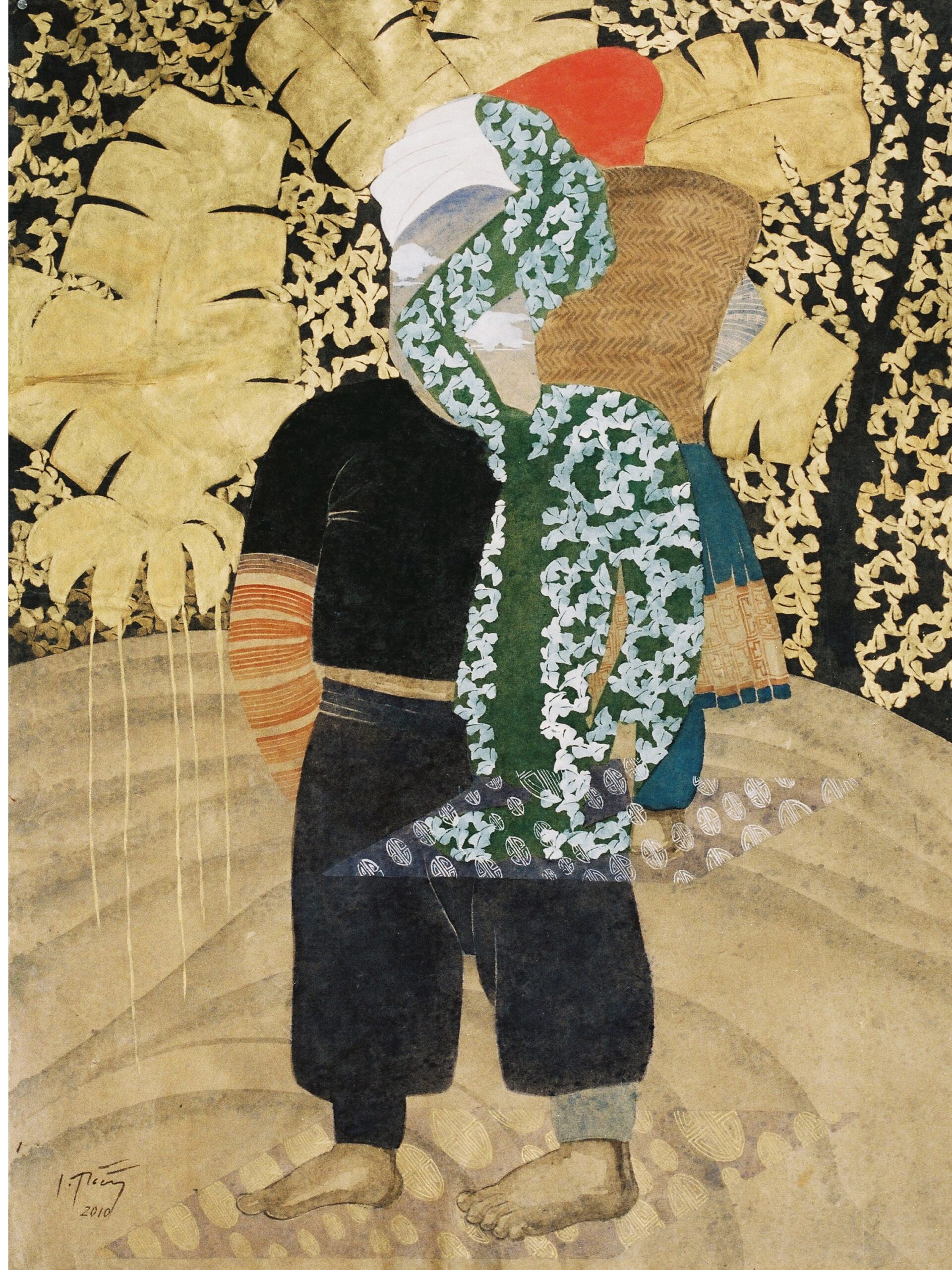 Banana Leaf Boy by Dinh Thi Tham Poong, watercolour on handmade paper, 2010, 80 x 60 cm