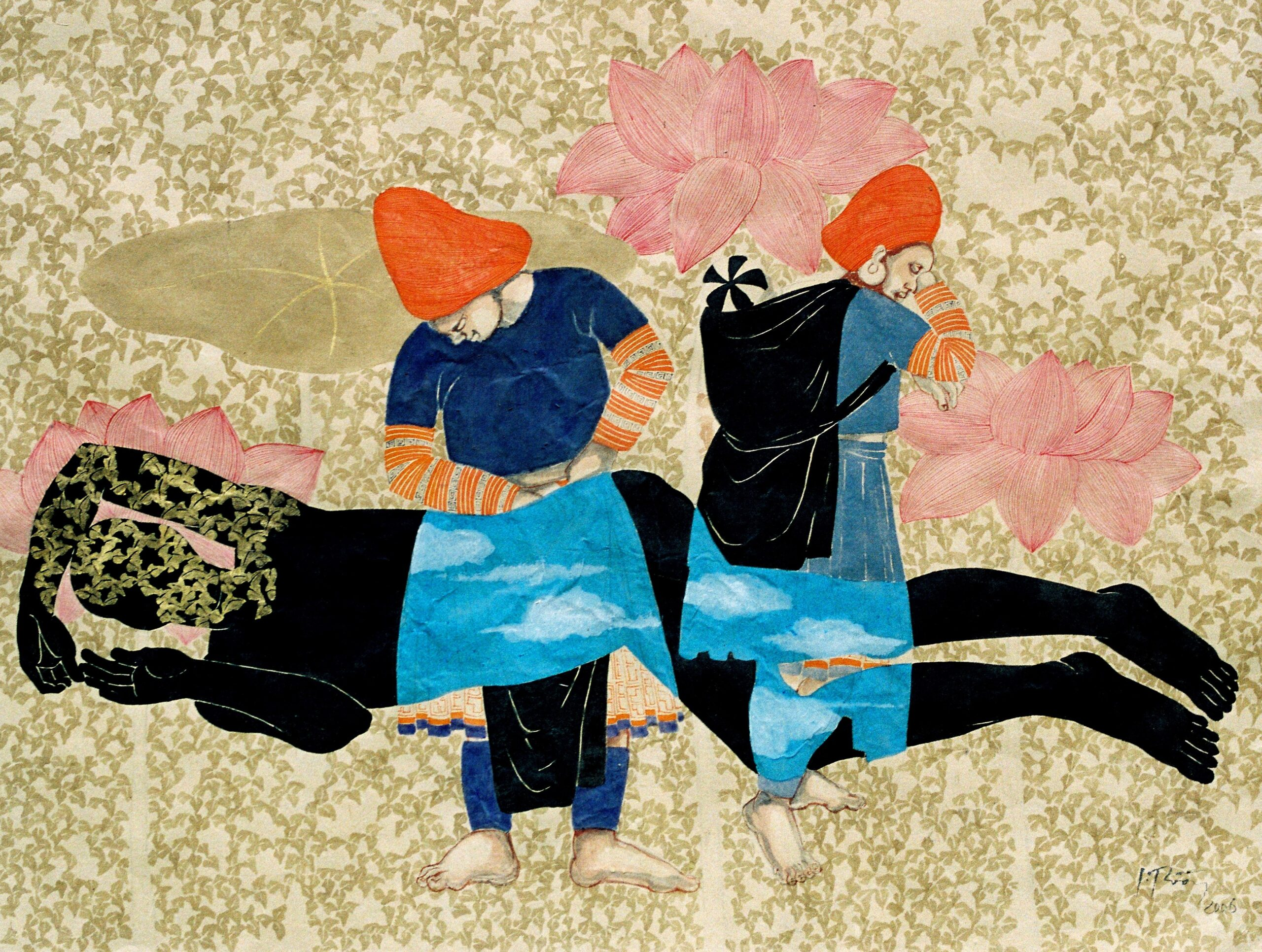 Beckoning to Bliss by Dinh Thi Tham Poong, watercolour on handmade paper, 2006, 80 x 60 cm