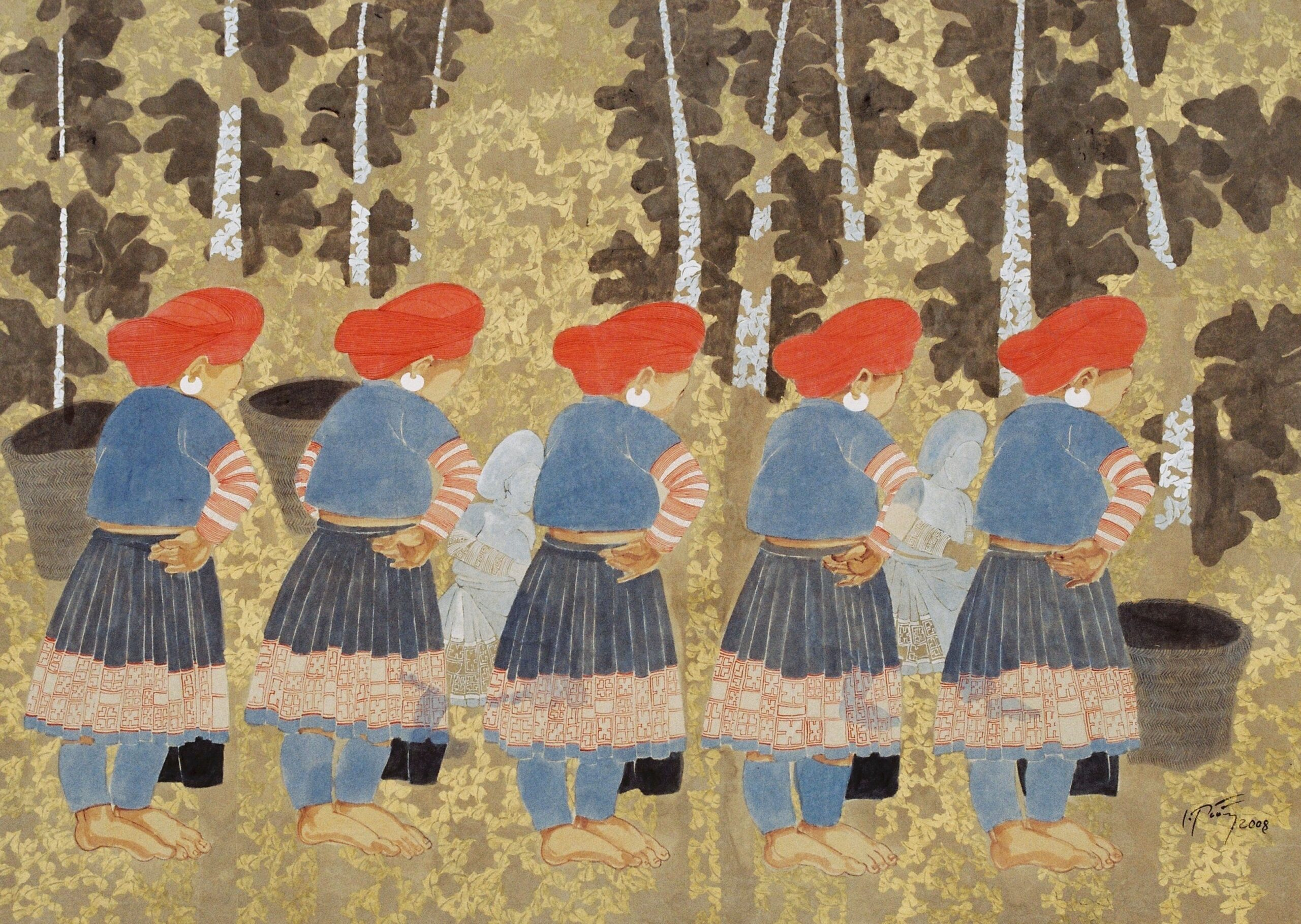 Groves of Gold by Dinh Thi Tham Poong, watercolour on handmade paper, 2008, 80 x 110 cm