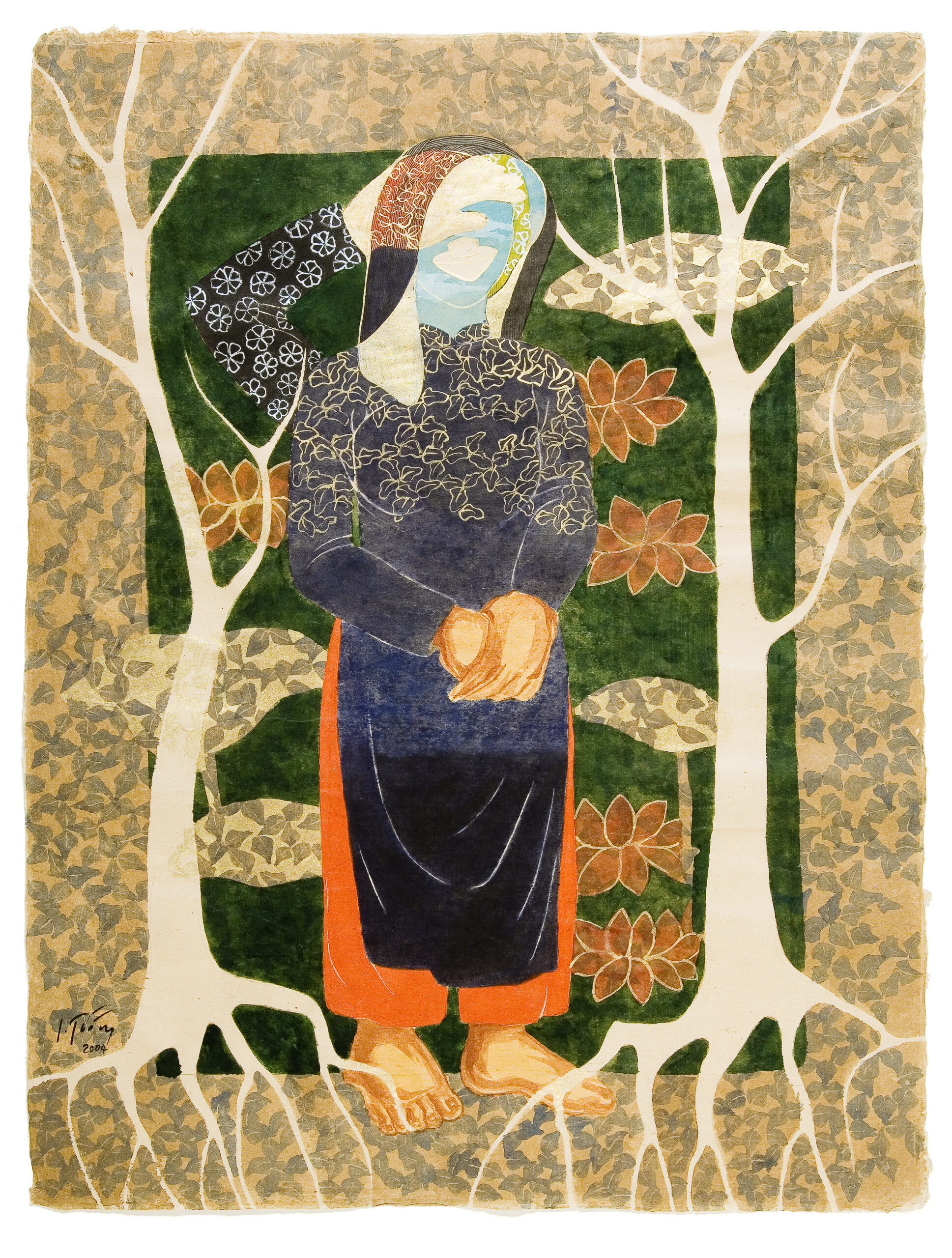 Spinning Tales by Dinh Thi Tham Poong, watercolour on handmade paper, 2004, 80 x 60 cm