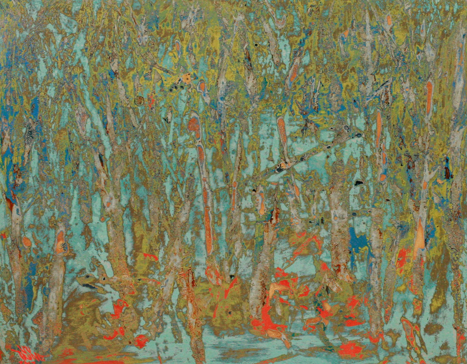 Hot Summer Forest by Vu Duc Trung, lacquer on wood, 2012, 40 x 50 cm