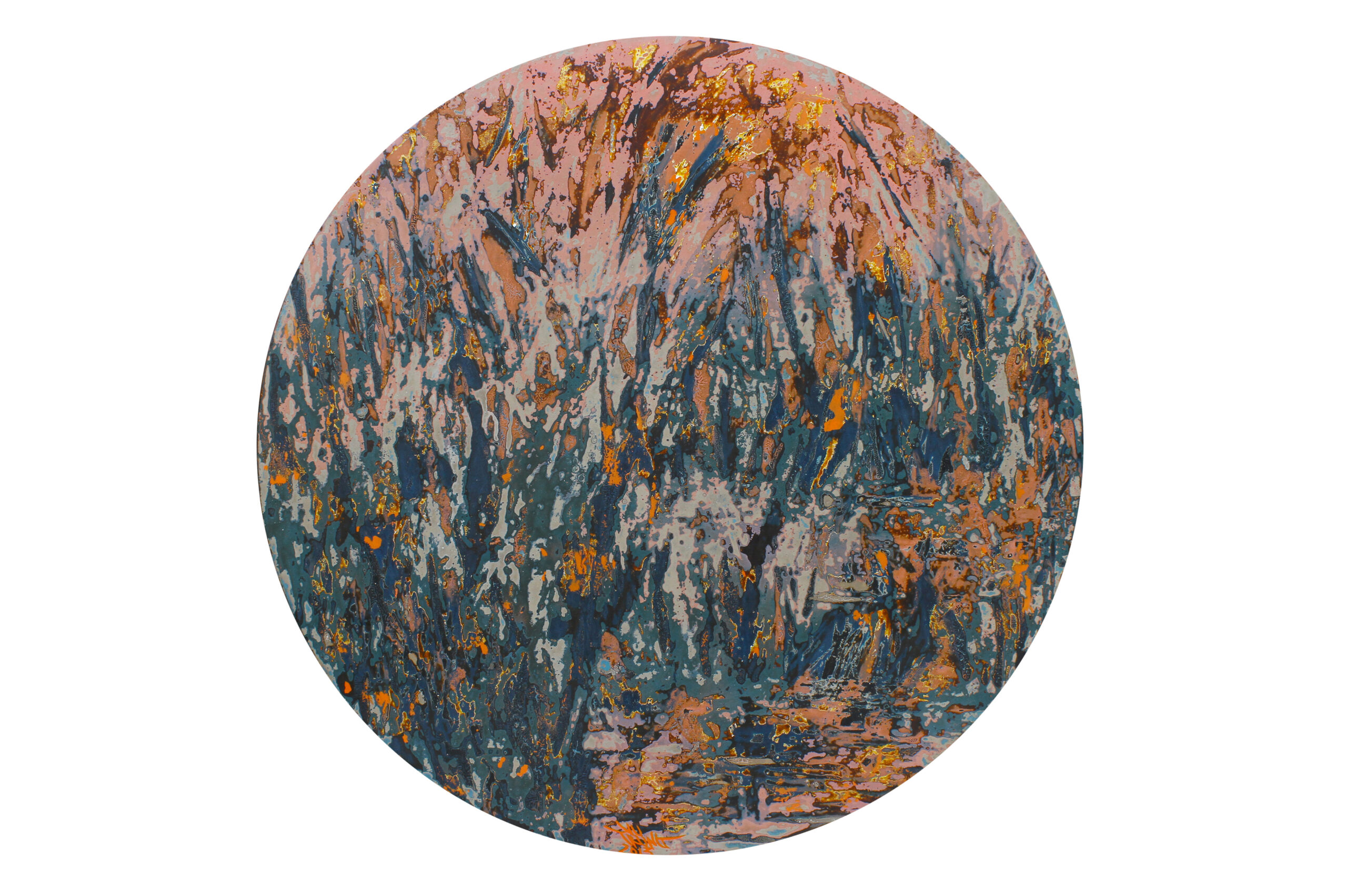 Red Wildgrass by Vu Duc Trung, lacquer on wood, 2013, 60 cm sphere