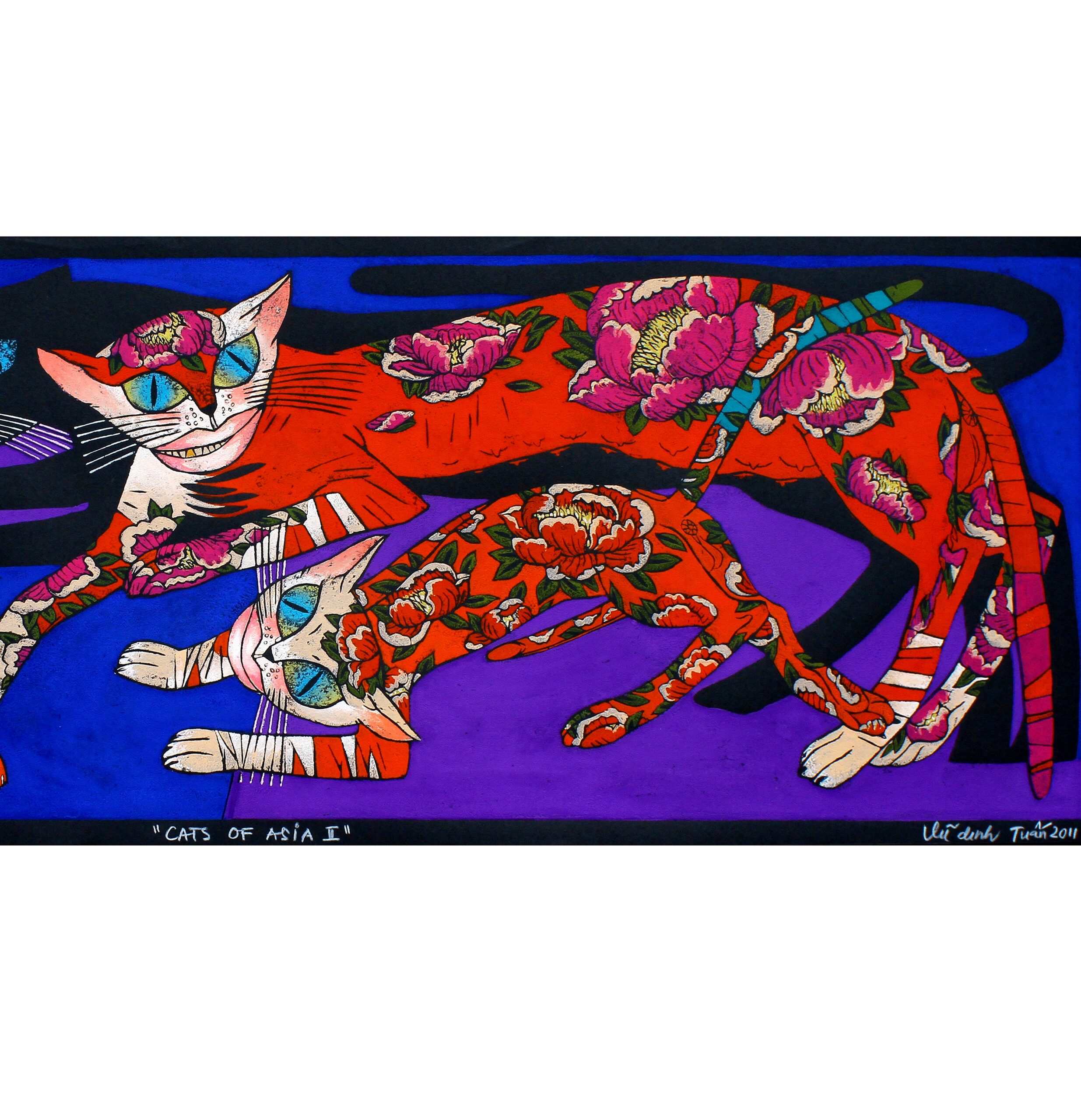 Cats of Asia by Vu Dinh Tuan, limited edition woodblock print, 2011, 40 x 110 cm