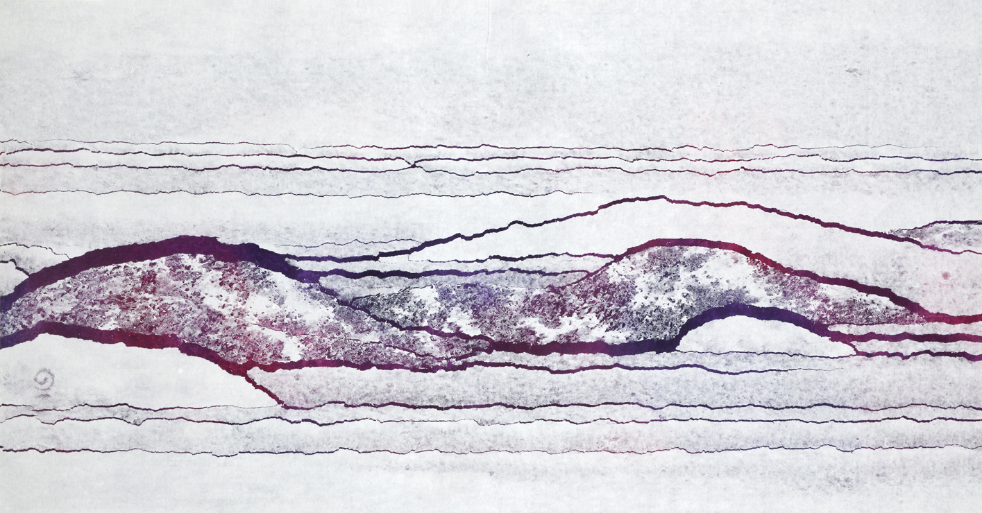 Qiu Deshu Fissuring - Distant View of Pingpo, 1994-5 Ink and acrylic and paper on canvas 29 x 52 x 2 in (73.7 x 132.1 x 5.1 cm)