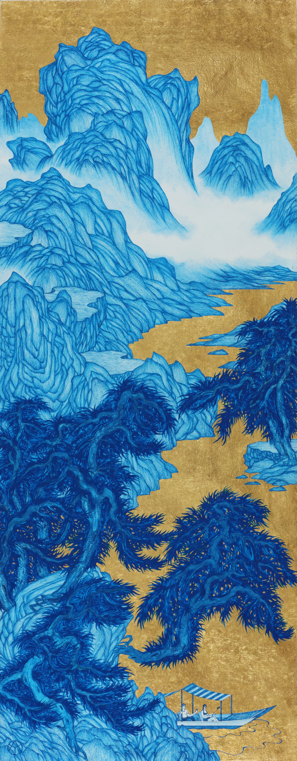 20.3332Yao Jui-chung Good Times: Boating Together, 2020 Handmade paper, gold leaf and ink 78 1/4 x 33 1/4 in (198.5 x 77 cm)