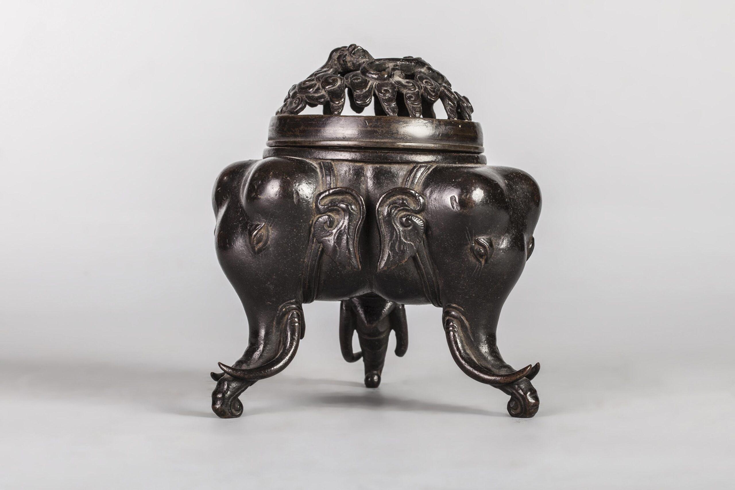 Bronze Tripod Incense Burner China, late Ming Dynasty, c. 1600 5 1/2 x 3 1/4 in (14 x 8.5 cm)
