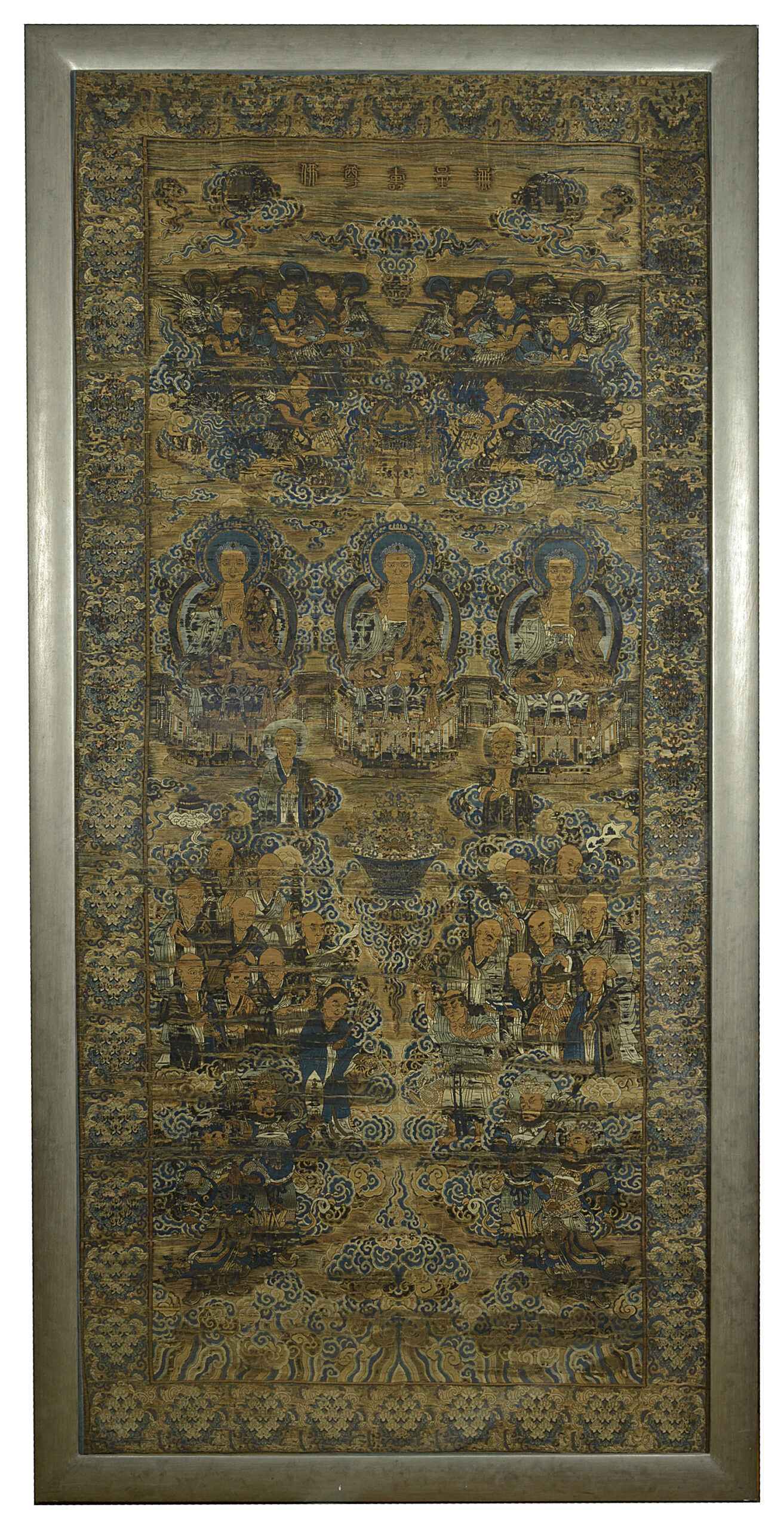An Important Silk Brocade Hanging of the Buddhist Paradise, Qianlong Period (1736-1795) L: 154.5cm W: 72.5 cm