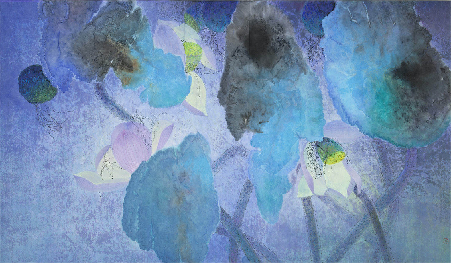 Yang Yanping Scent of Summer Night, 2000 Ink and colour on paper 36 1/4 x 59 (92 x 150 cm)
