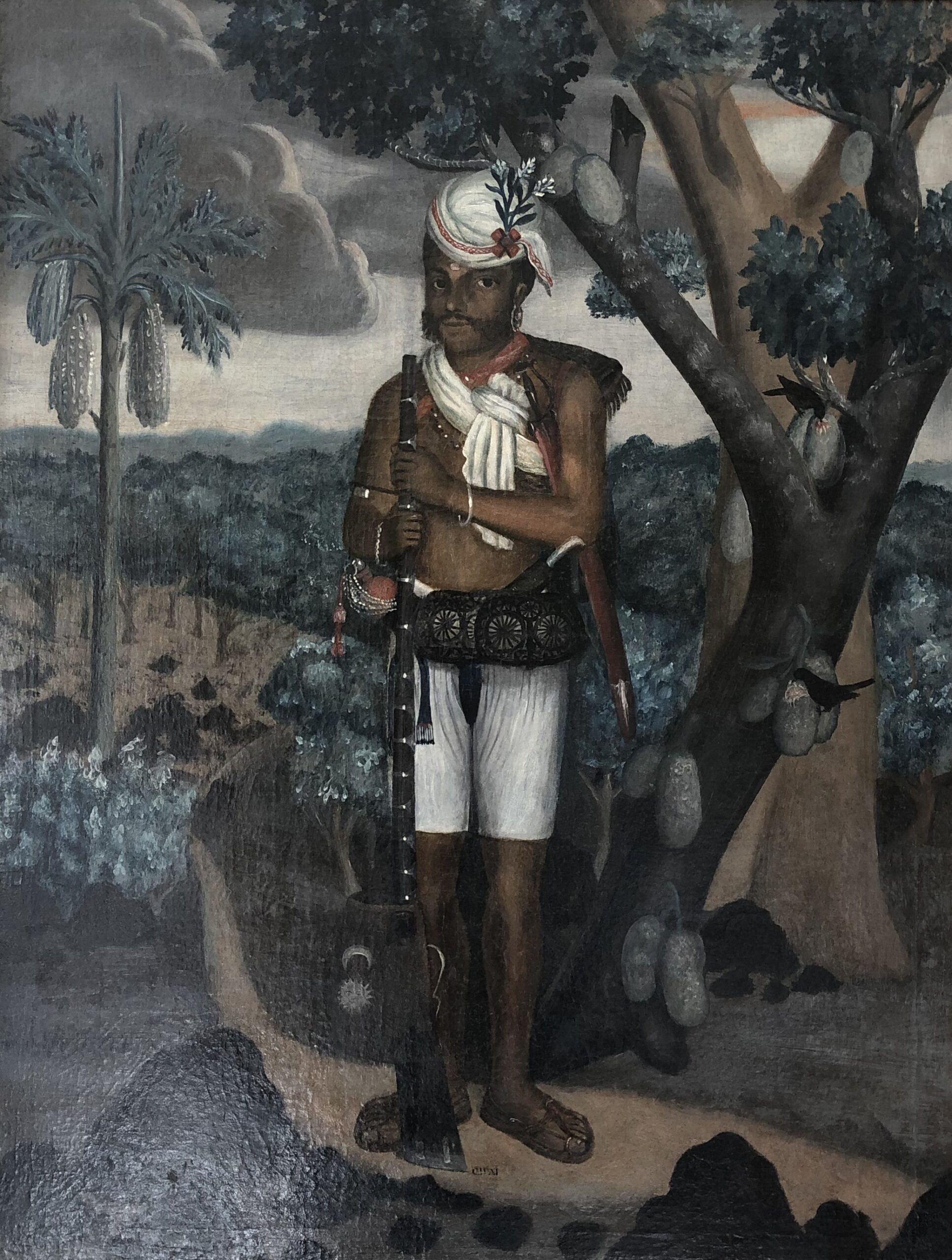 Portrait of a Sepoy, Indo-Portuguese, late eighteenth century, oil on canvas, 63.3 by 49.8 cm.