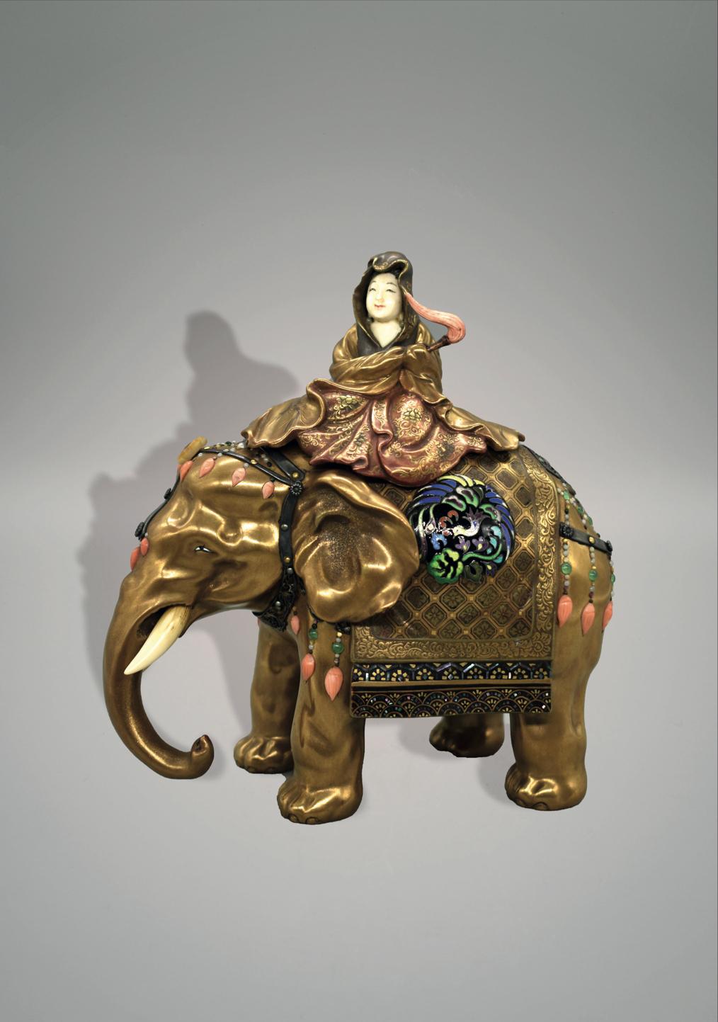 Shibayama Inlay Elephant and Guanyin Koro, Meiji Period (1868-1912) W:15cm x H:16cm