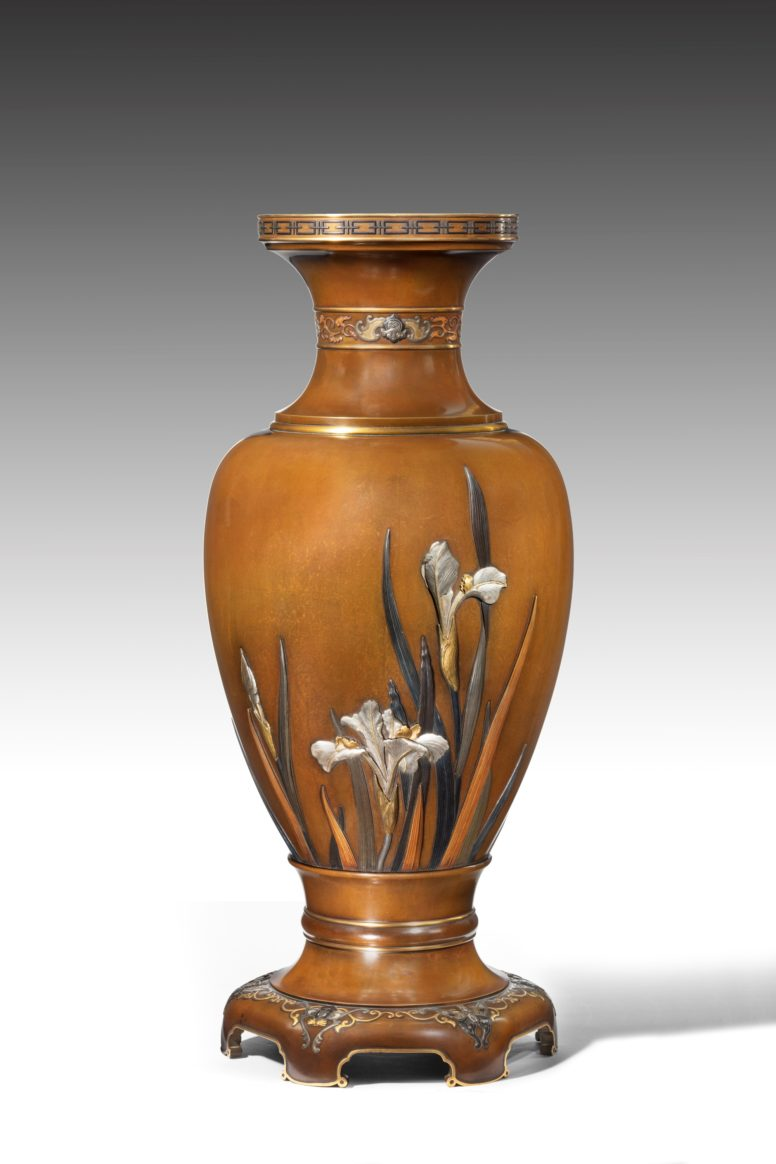 Meiji period, Damascened Iron vase by Komai company Height: 21.5 cm, 8.5 inches Width: 11.5 cm, 4.5 inches Depth: 11.5 cm, 4.5 inches