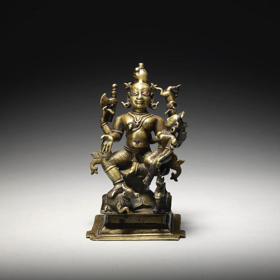 JOOST VAN DEN BERGH A brass shrine depicting umamahesvara Western India, circa 18th century Height: 16 cm, 6 ¼ in Width: 10 cm, 4 in