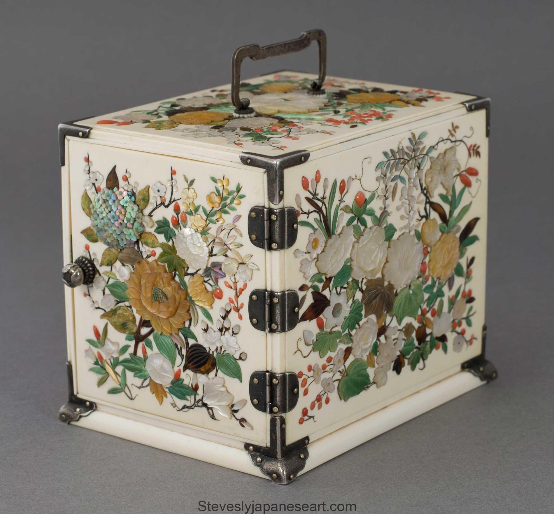 Meiji period (1868-1912), Ivory & Shibayama Kodansu ,Circa1890 Height: 11.4cm, 4.5 inches Width: 8.8cm, 3.4 inches Depth: 11.7cm, 4.6 inches