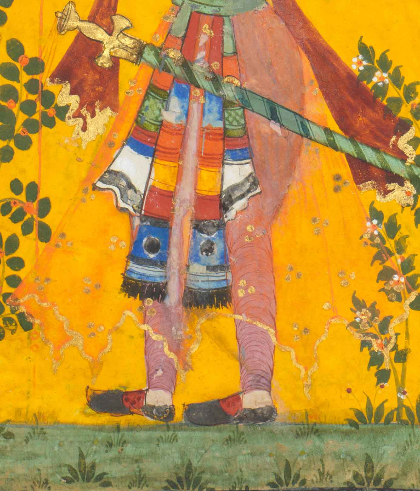Detail :Maru sets out armed and determined to recover his beloved,  Maru raga, first son of Malkaus, from a dispersed Ragamala series, north Deccan, 1630-50