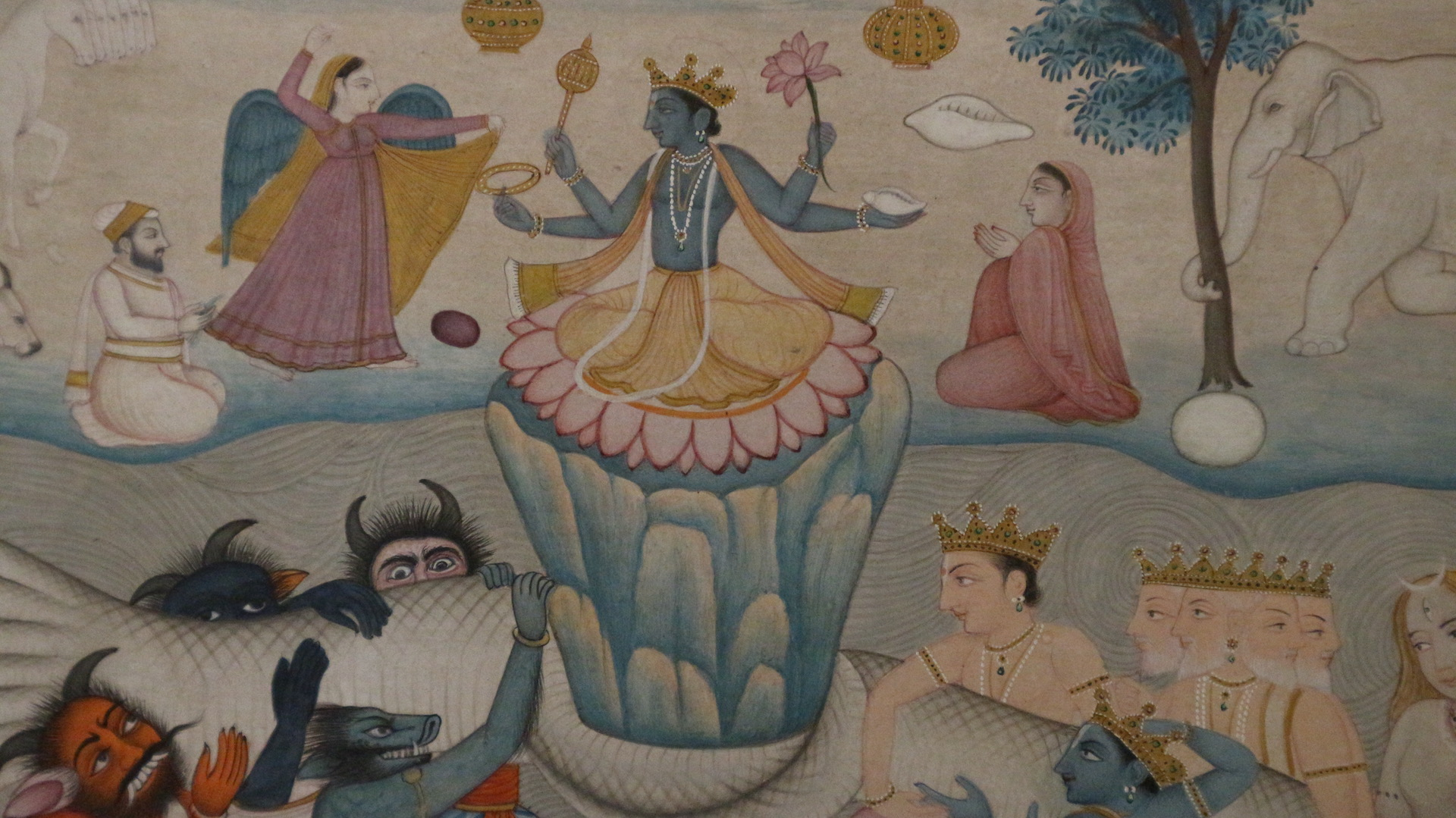 RITA DIXIT INDIAN MINIATURES The Churning of the Ocean, (sanskrit Samudra Manthan) is one of the most iconic episodes in Indian mythology. A timeless image from the Bhagvata Puranas captured in miniature. This example is from Kangra School mid/ late 19th century.