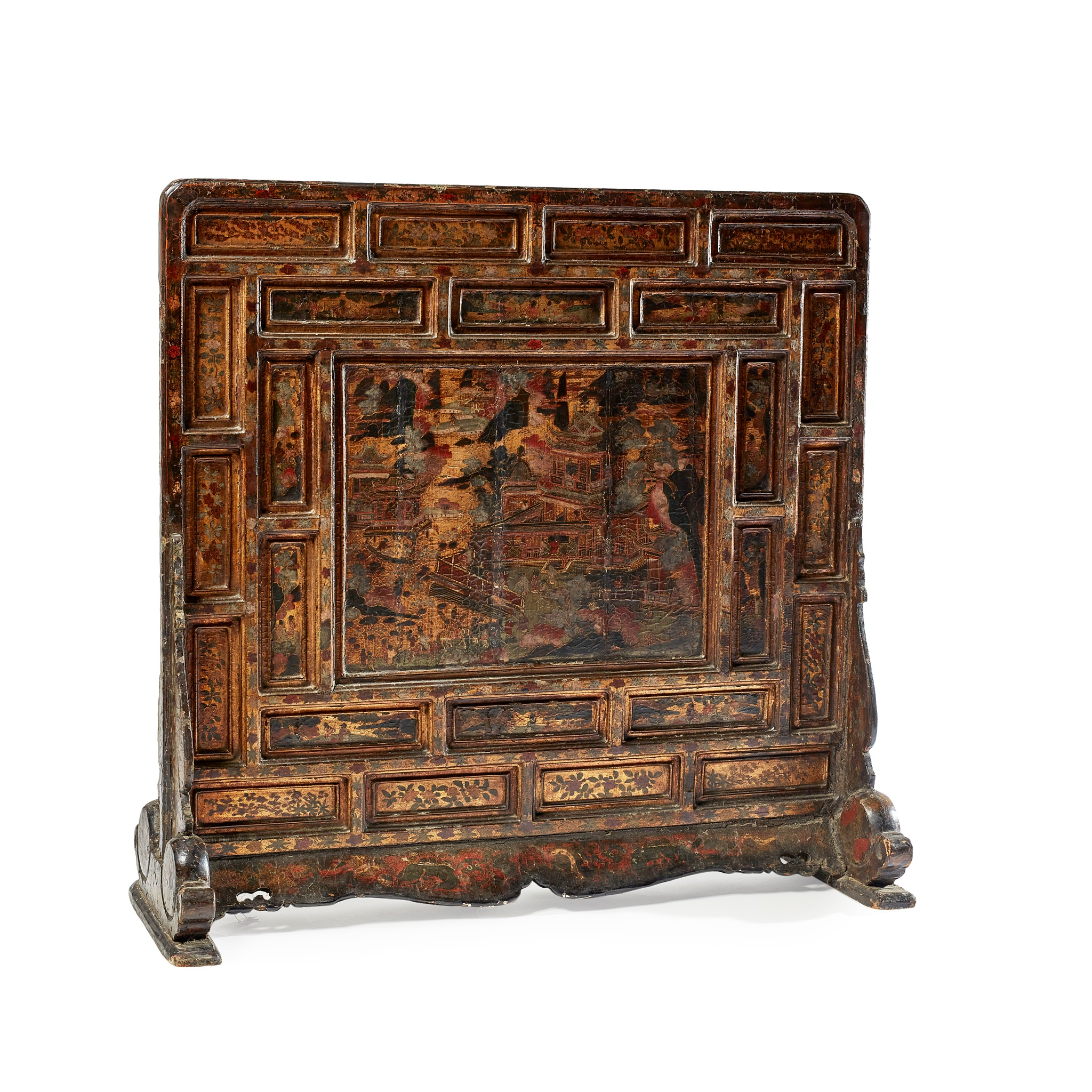 LYON & TURNBULL A rare mother-of-pearl inlaid black lacquer 'Pavilion of Prince Teng' screen Ming Dynasty, 16th-17th Century 93cm x 95.5cm