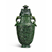 A large spinach jade vase and cover