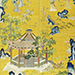 An exceptionally rare Imperial yellow-ground silk embroidered 'ladies and lions' screen panel