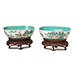 A pair of Chinese porcelain famille rose oval bowls, Jiaqing period