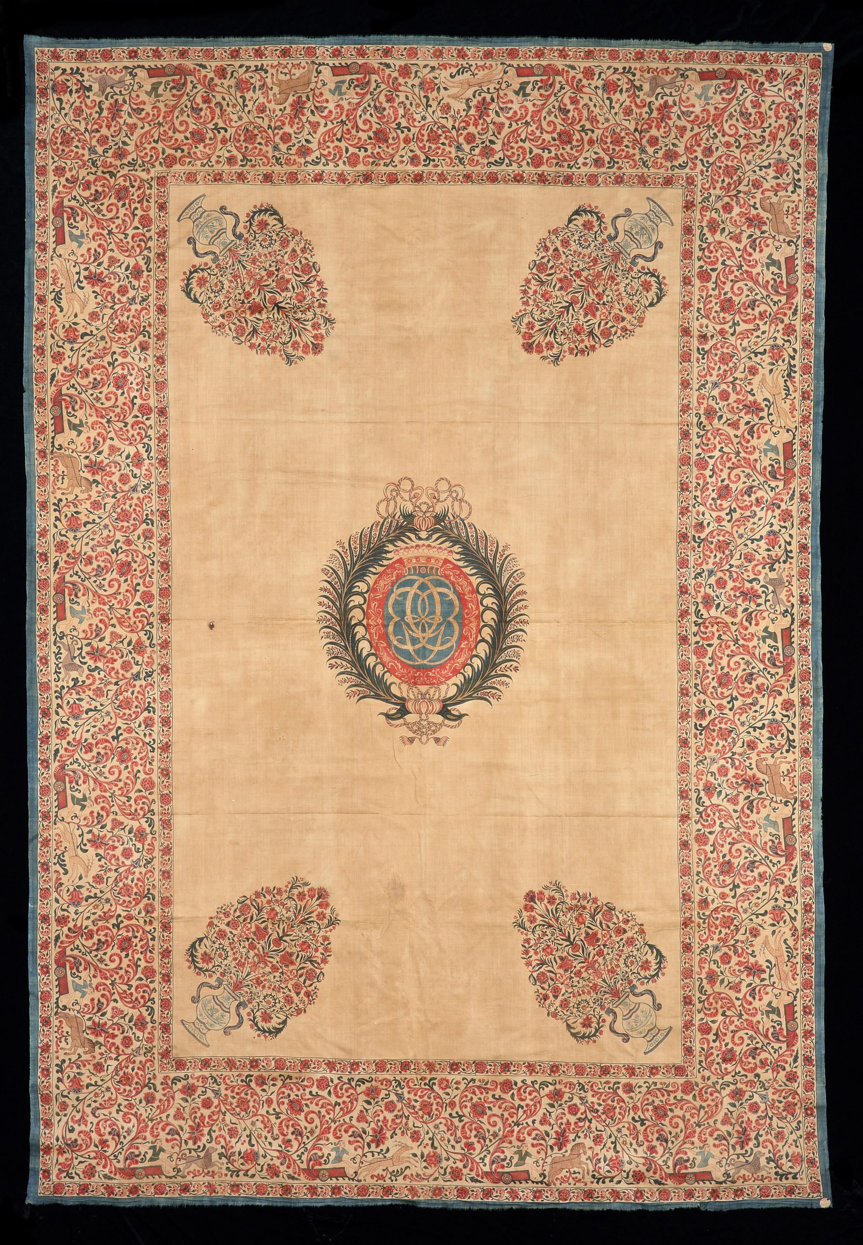 A superb example of a hand-drawn, mordant and resist dyed cotton 'palempore', made on India's Coromandel coast for the European market. Circa 1730, 190cm x 300cm