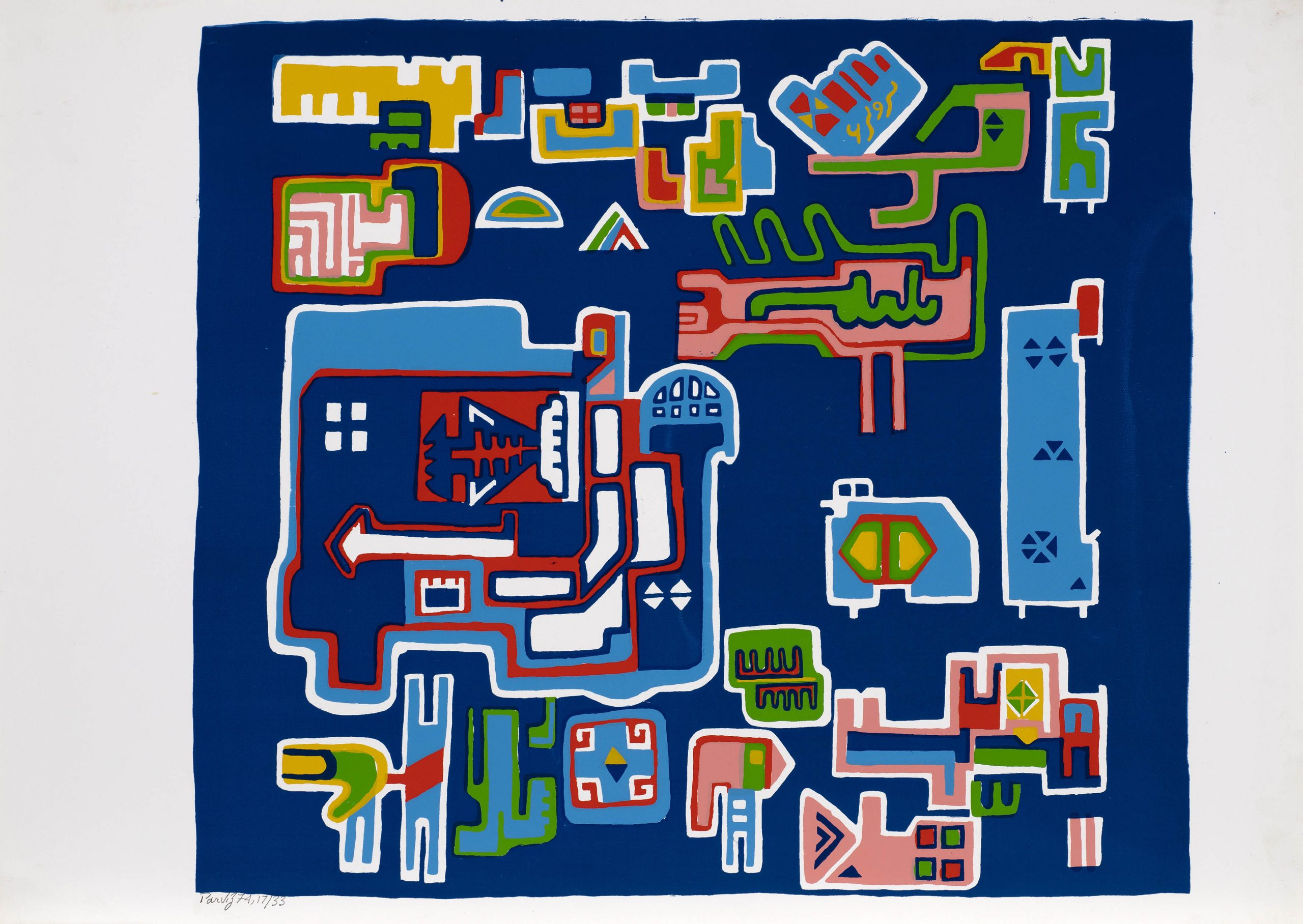 LOVERS IN A GARDEN, 1974   Screenprint on paper   Signed, dated and editioned 'Parviz 74' along lower margin   From an edition of 33   50 x 70 cm (19 3/4 x 27 1/2 in)