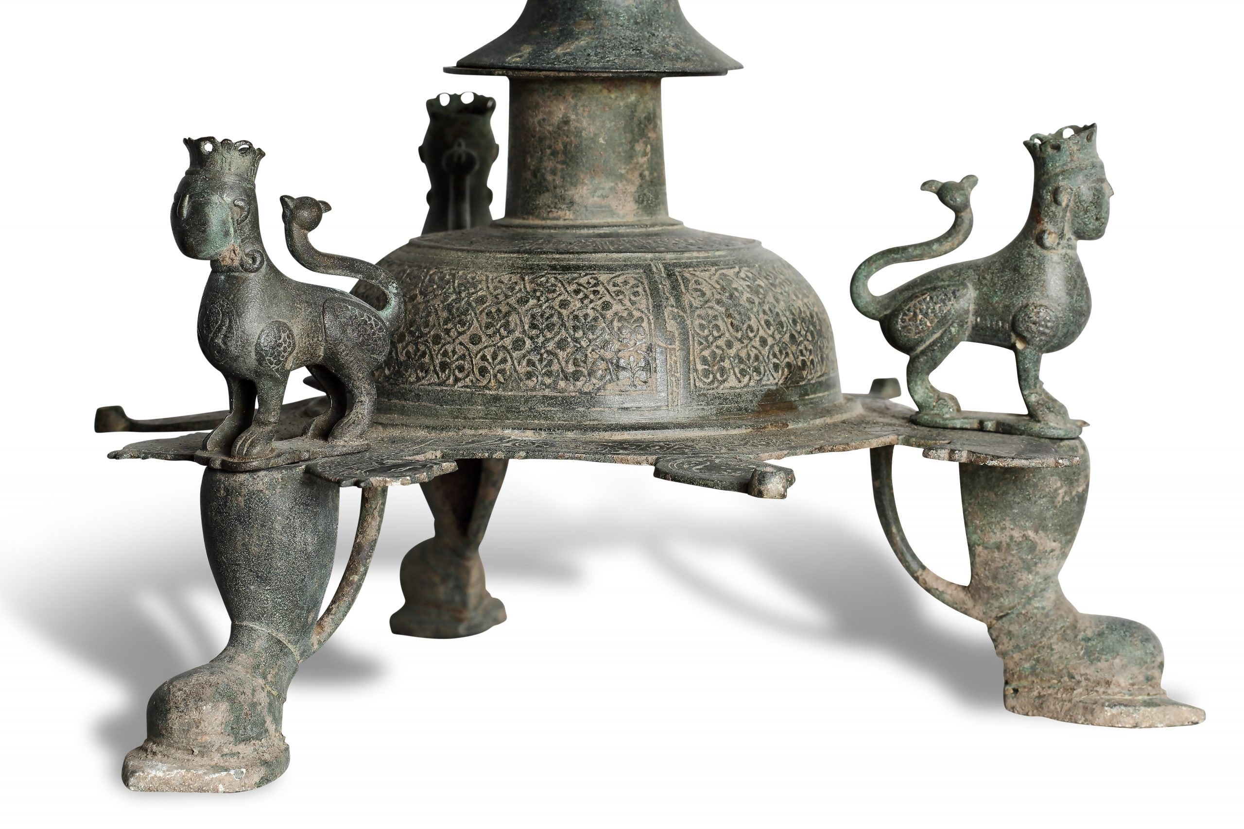 Detail of Lampstand. Bronze Central Asia or Afghanistan Seljuk, eleventh/twelfth century