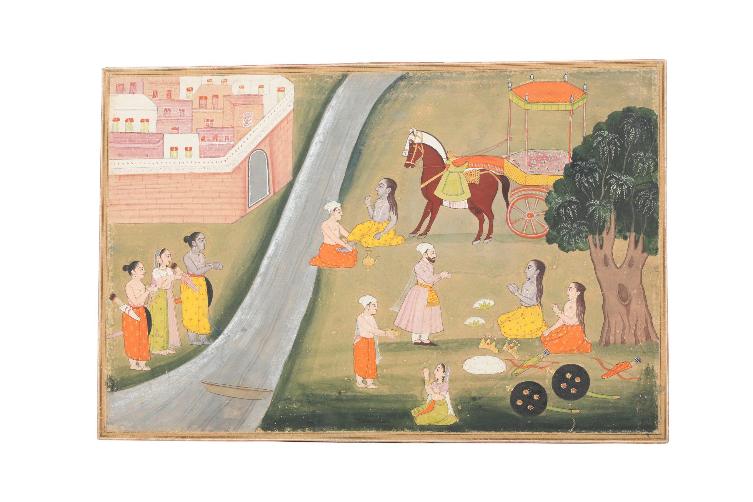 An illustration to a Ramayana series: Rama, Sita and Lakshmana returning to Ayodhya Jodhpur, Rajasthan, North-Western India, circa 1820-1840. Estimate £800 - £1,200