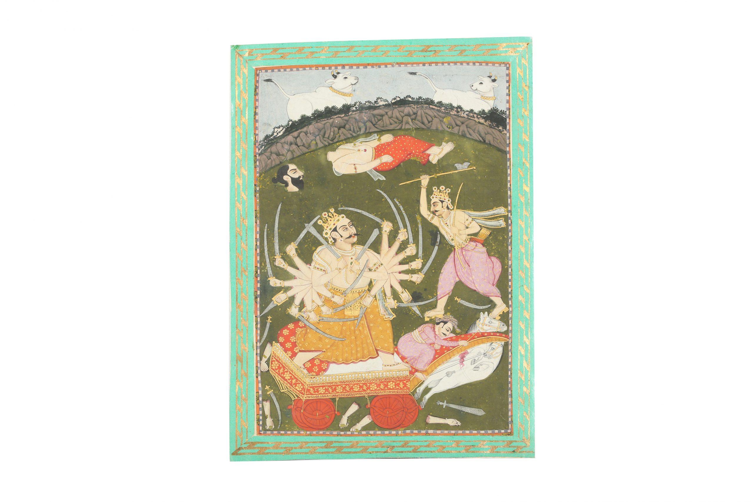 An illustration from a Bhagavata Purana series: Parashurama in combat with Kartavirya Arjuna. Bikaner, Rajasthan, North-Western India, circa 1780- 1820. Estimate £800 - £1,200