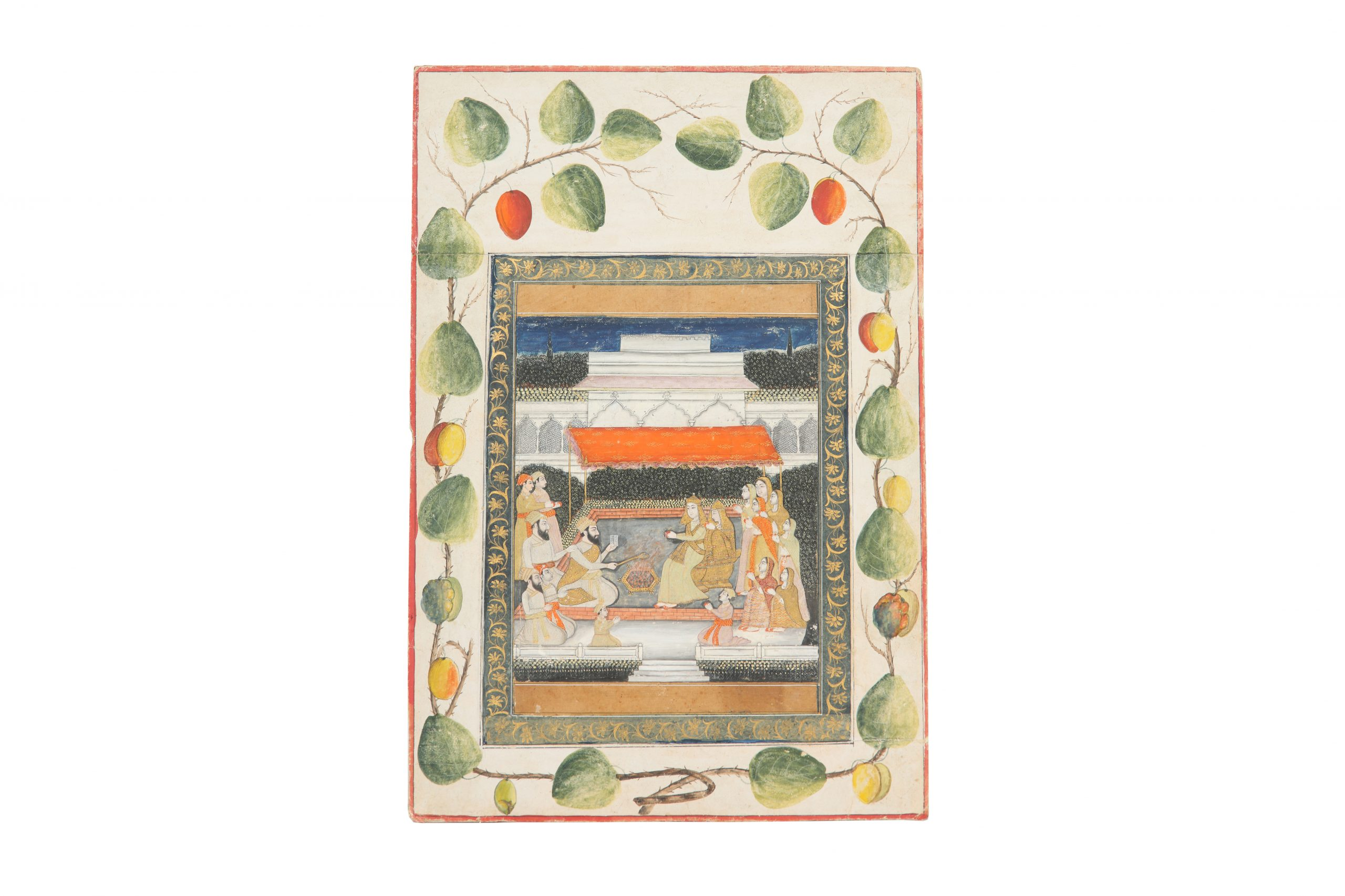 A ruler performing Yajna (fire ritual). Provincial Mughal, Delhi or Hyderabad school, India, 19th century. Estimate £800 - £1,200