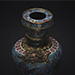 A Chinese gilt bronze and cloisonné enamel 'lion dogs' buddhist longevity vase
