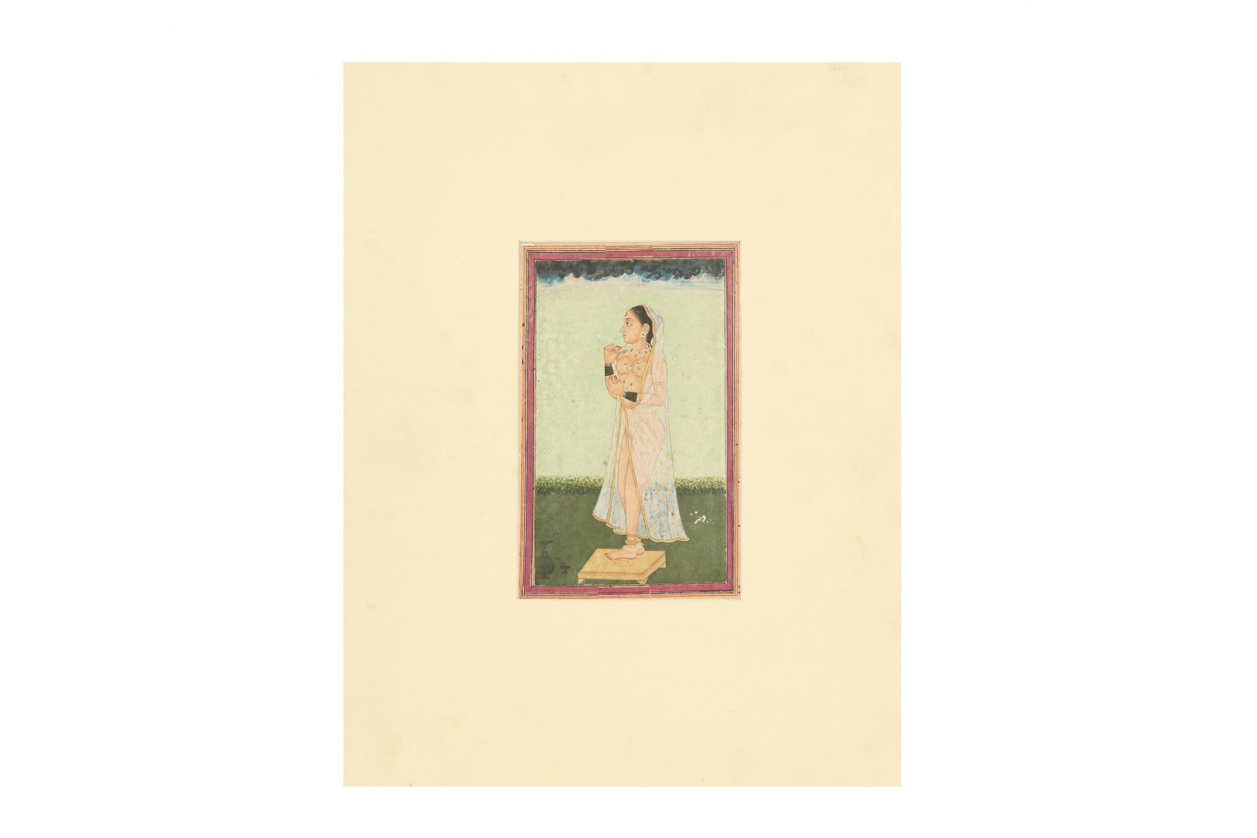A lady at her toilette. Provincial Mughal school, possibly Awadh (Oudh), Northern India, late 18th - early 19th century Estimate £1,500 - £2,000