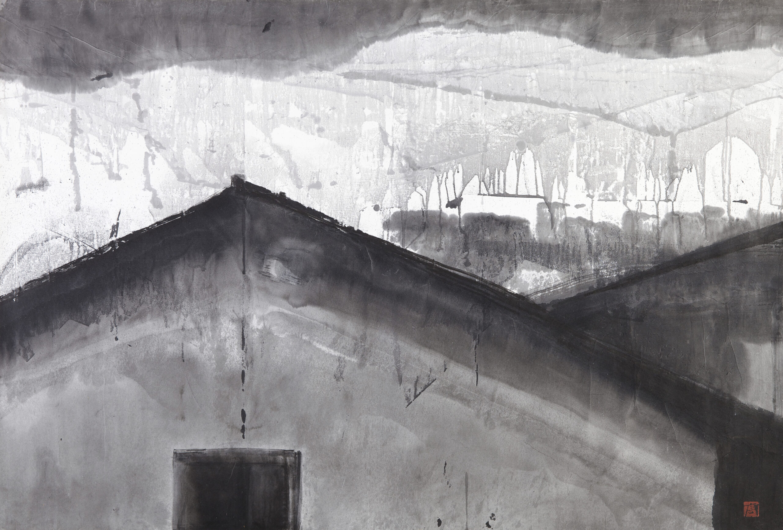 Gao Xingjian Dream House, 1992 Stamped lower right Titled and dated on reverse Ink on paper 82.5 x 121.5 cm