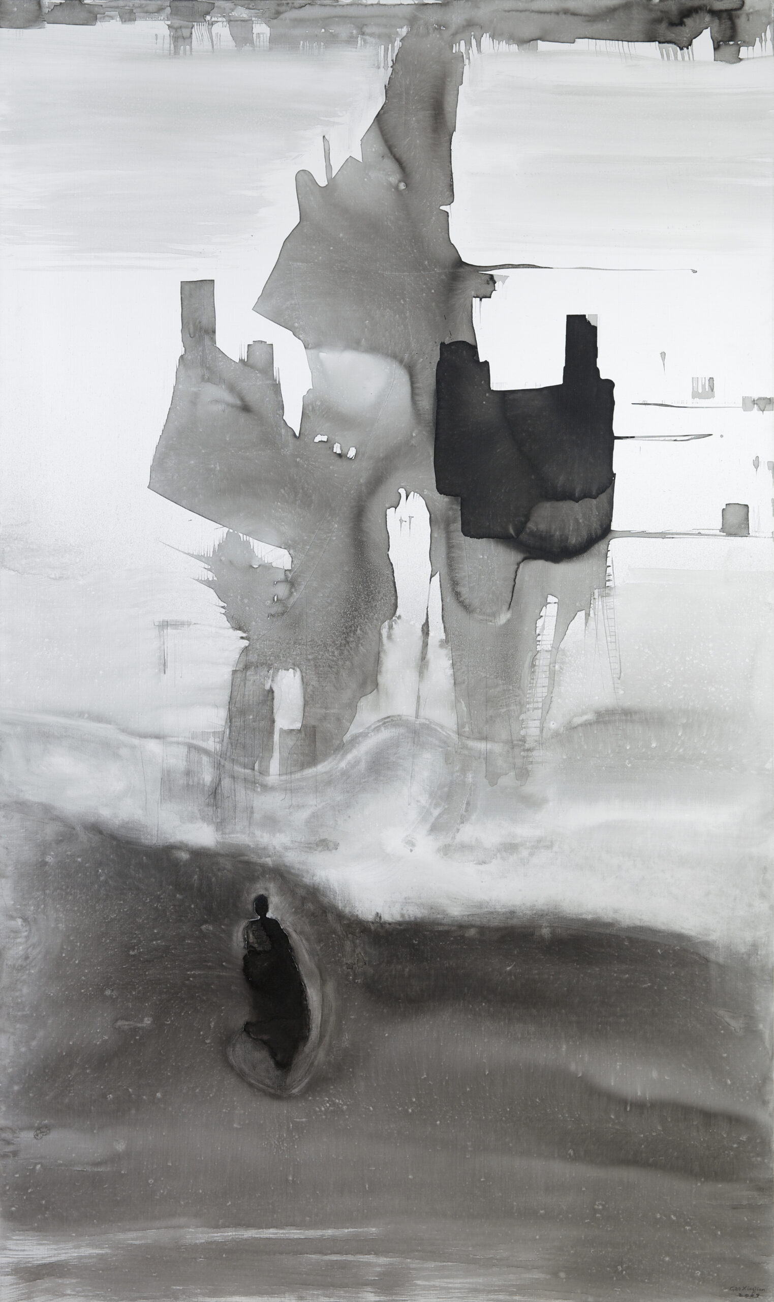 Gao Xingjian Nostalgia, 2007 Signed and dated lower right Ink on canvas 195 x 98 cm