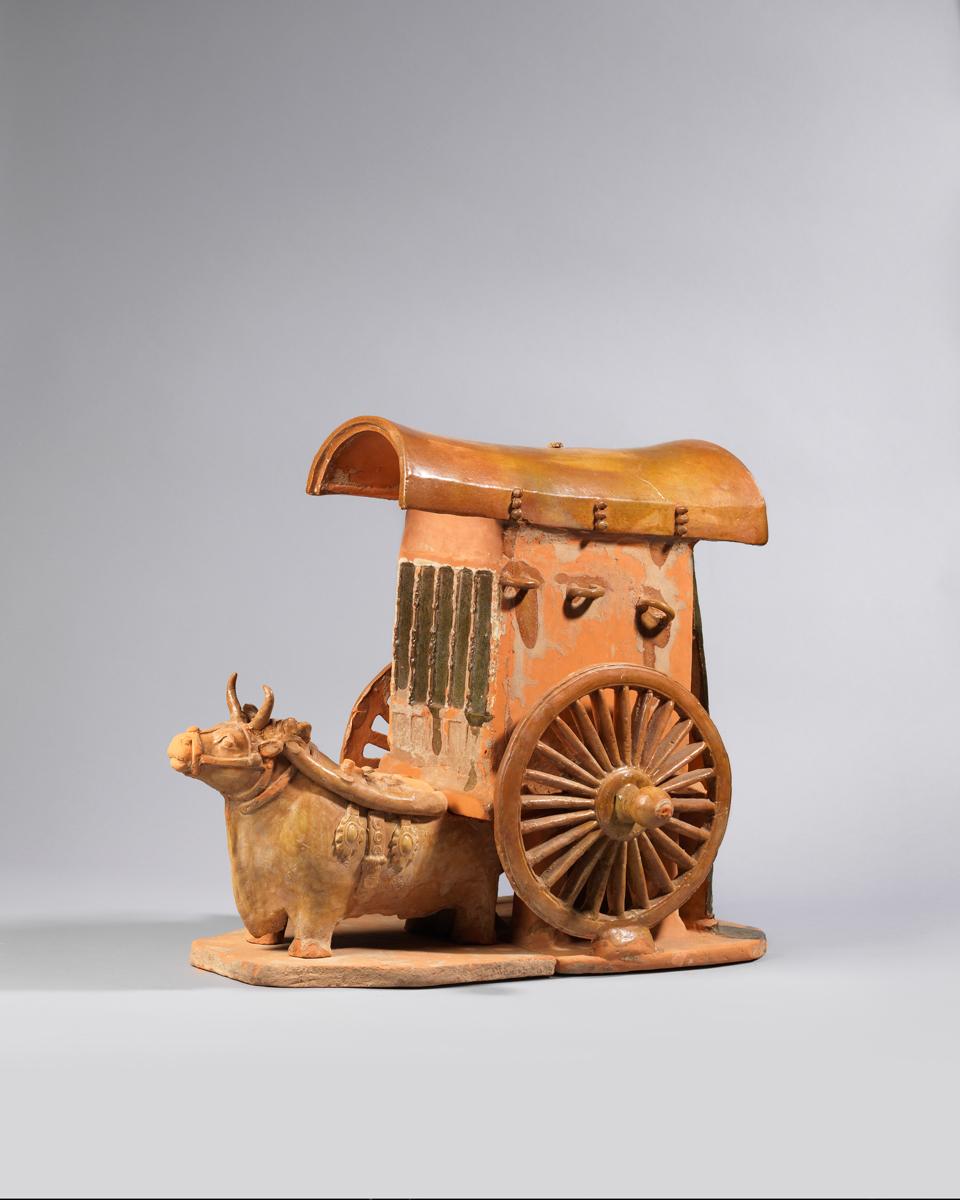 Amber Glazed Pottery Ox Cart, Northern-Qi Period 北齊 黃釉紅陶牛拉車 H: 44cm