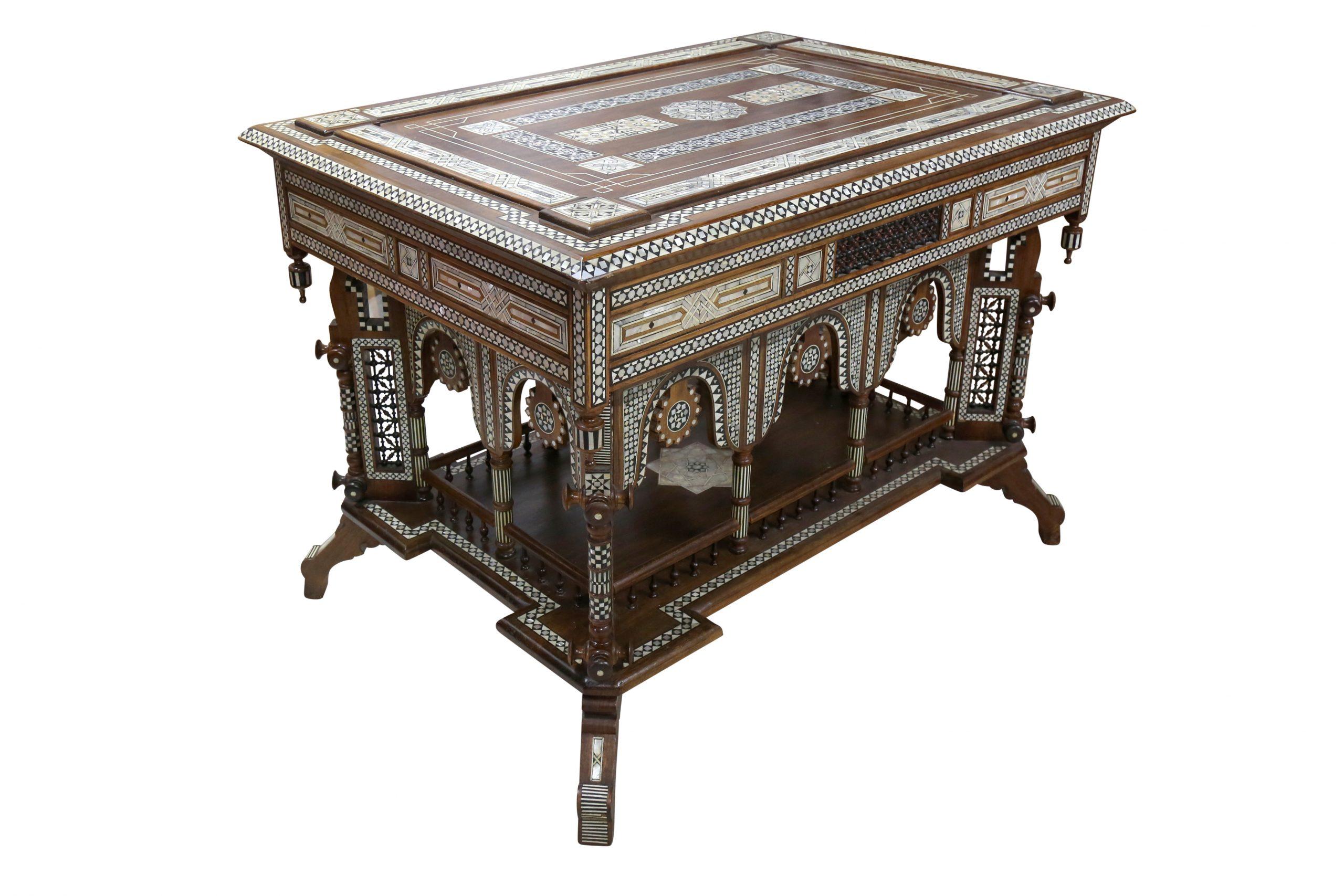 λ a large and impressive hardwood Mother-of-Pearl and Ivory-Inlaid orientalist table. Italy or France, late 19th - early 20th century. Estimate £3,000 - £5,000