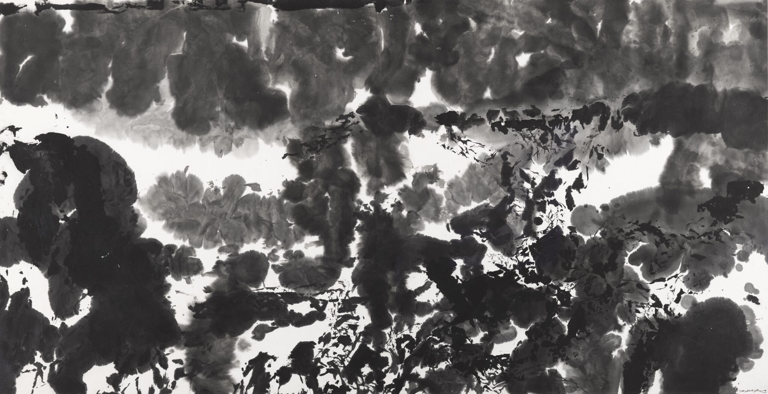Zao Wou-Ki, Untitled, 1981 Signed and dated lower right Indian ink on paper 67.5 x 131.5 cm