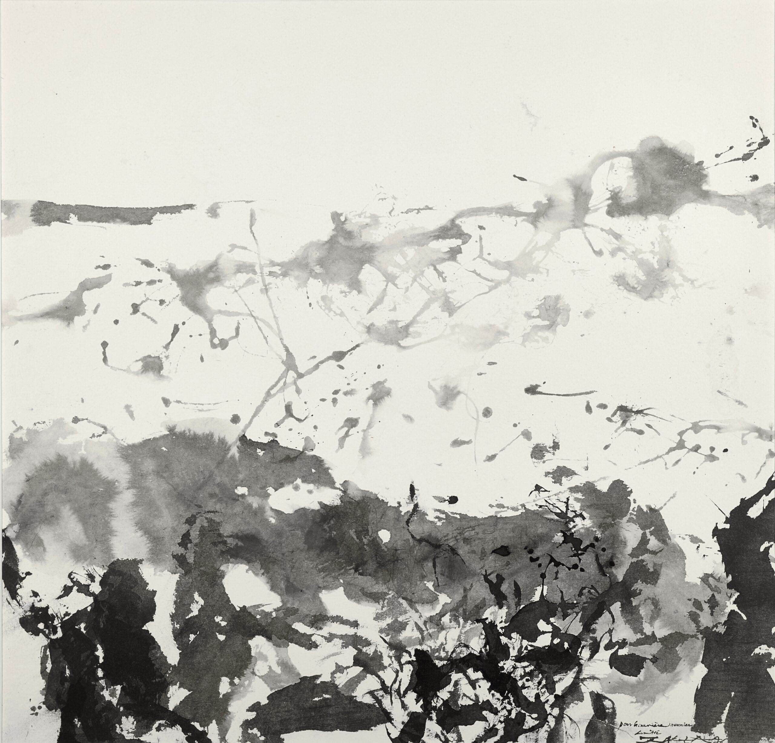 Zao Wou-Ki, Untitled, 1986 Signed and dated lower right Dedicated lower right: Pour Genevieve Monnier, Amities, Zao Wou Ki 86 Ink on paper 67.5 x 69 cm