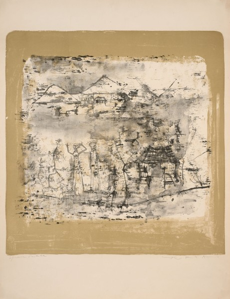 """Zao Wou-Ki, Landscape with Man with Hands Up, 1951 Signed and justified """"test d'artiste"""" Lithograph in 2 colours"""