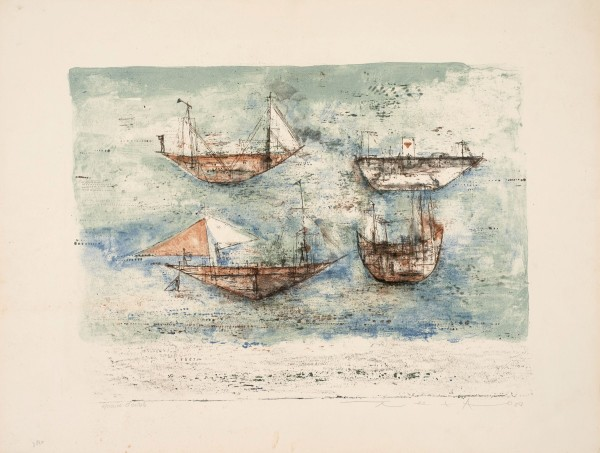 """Zao Wou-Ki, Sails to the Sea, 1953 Signed and justified """"test d'artiste"""" Lithograph in 5 colours 50 x 65.5 cm"""
