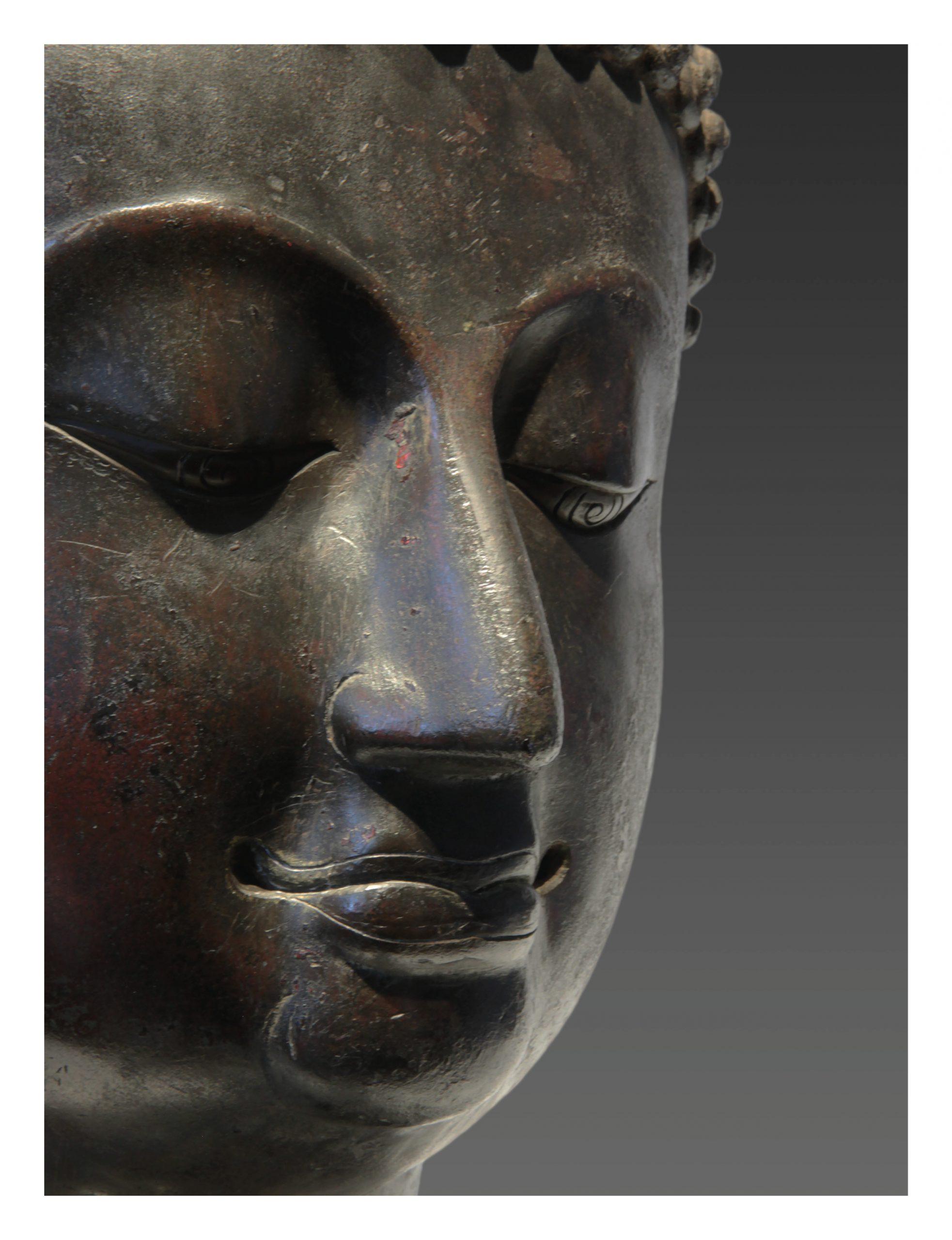 THAILAND, HEAD OF BUDDHA SAKYAMUNI (DETAIL), LAN NA KINGDOM, 15TH CENTURY, H.: 40CM