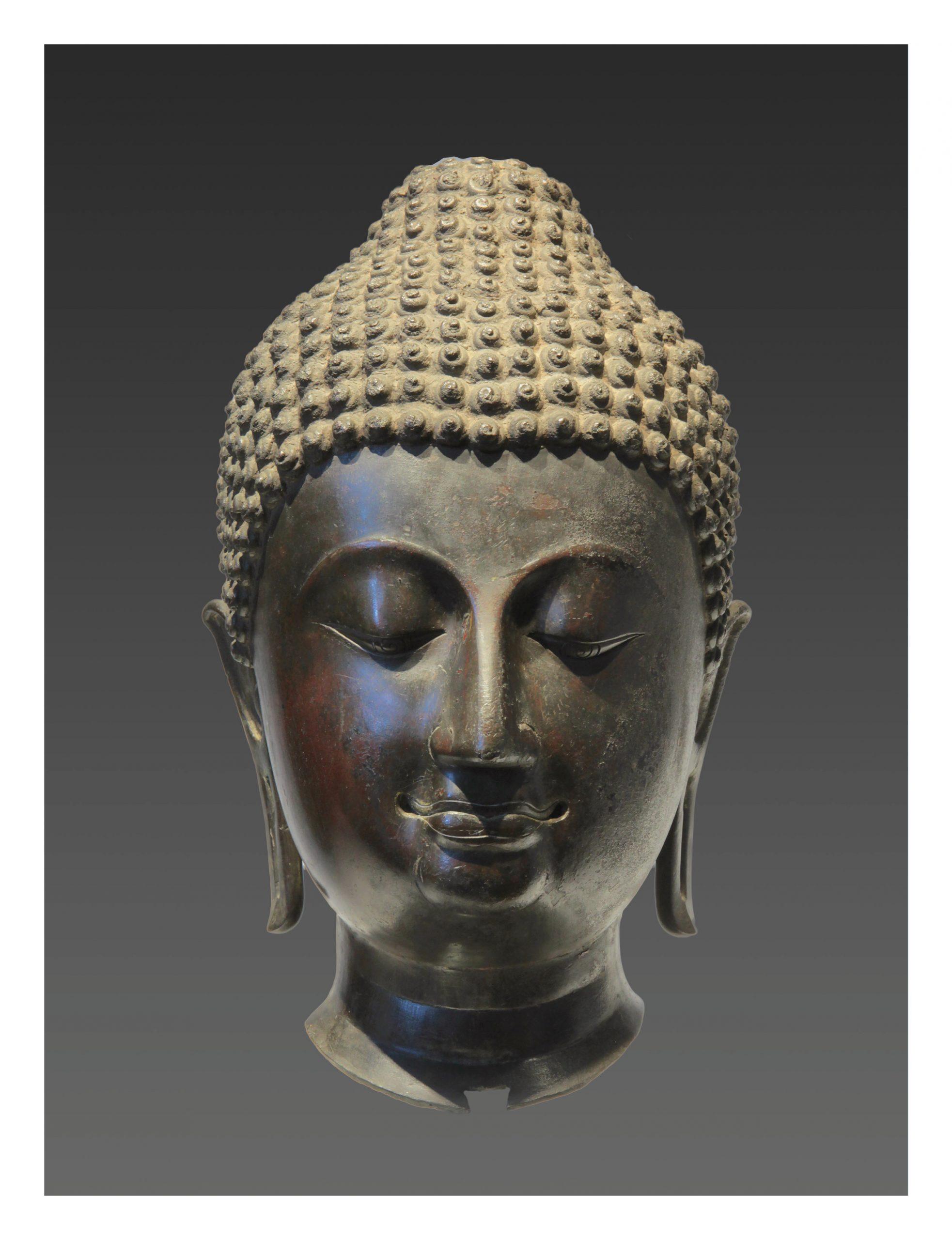 THAILAND, HEAD OF BUDDHA SAKYAMUNI, LAN NA KINGDOM, 15TH CENTURY, H.: 40CM