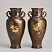 Multi metal flush inlaid vases