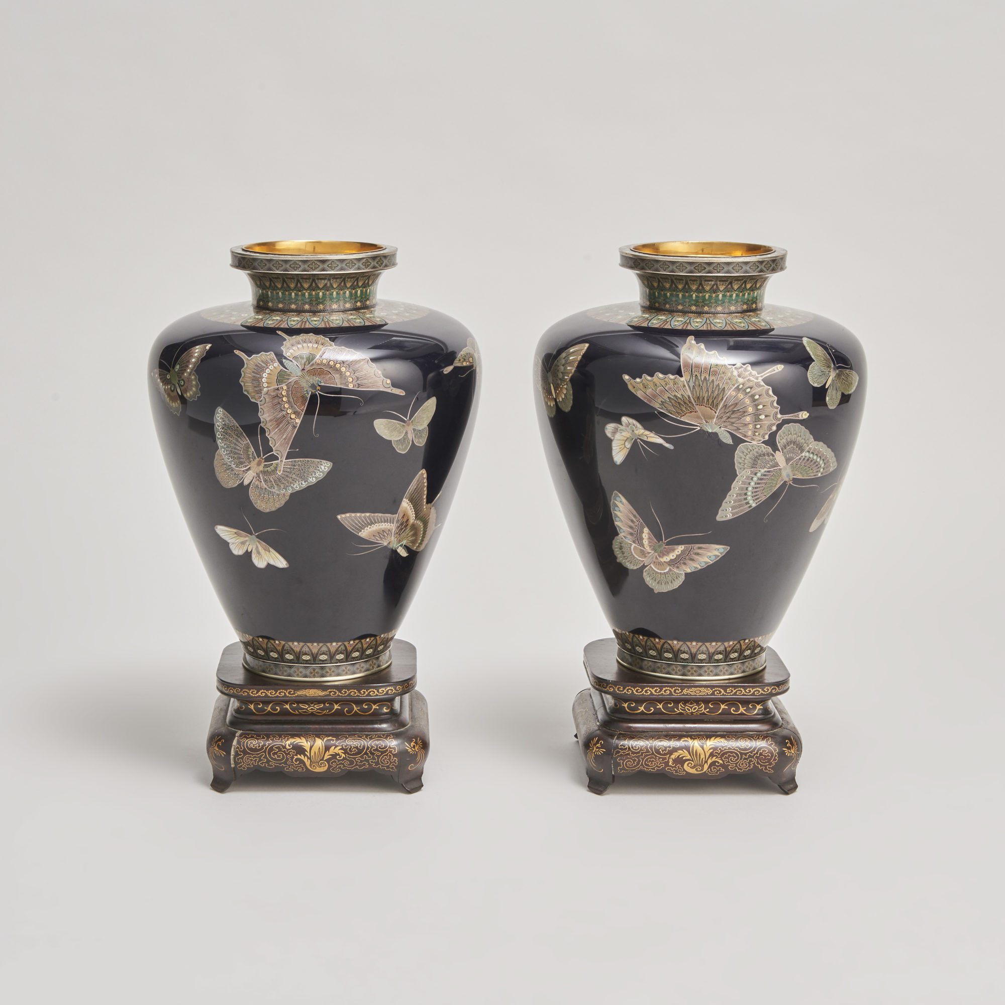 Cloisonne silver wire vases   A stunning pair of Japanese Meiji Period Cloisonné vases with butterfly decoration