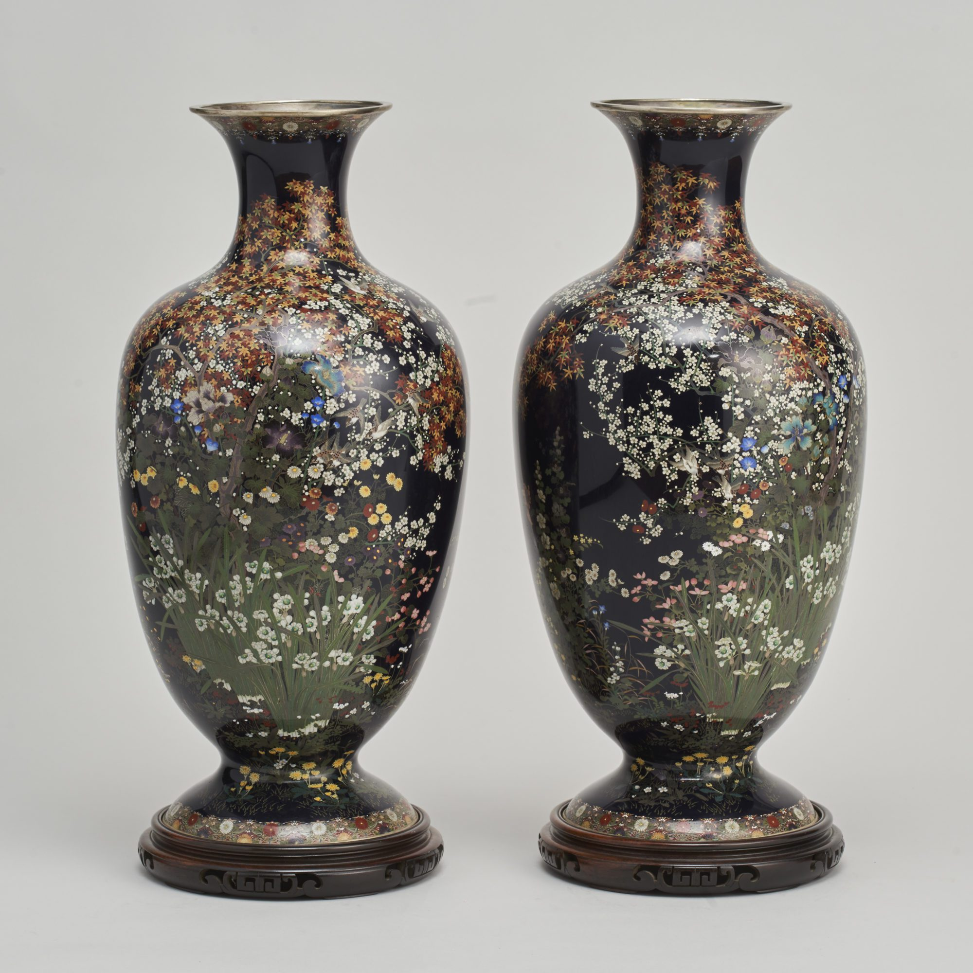 Cloisonne vases   A stunning pair of Japanese Meiji period silver wire enamel cloisonne vases