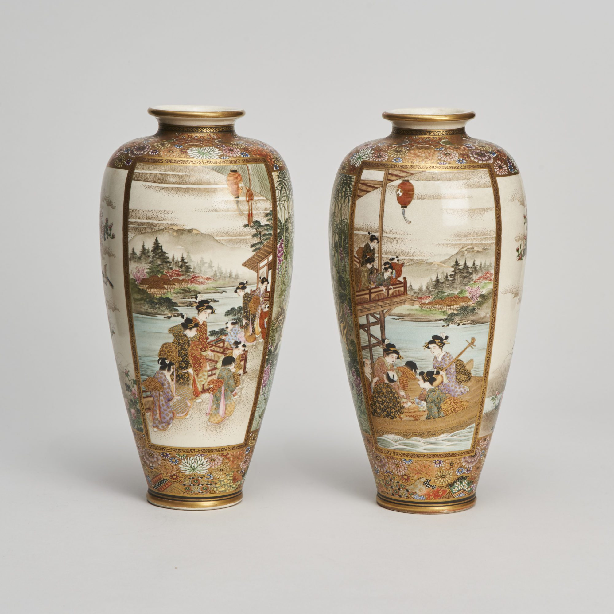 Ryozan Satsuma ware   A pair of Japanese Meiji Period satsuma vases signed by Ryozan