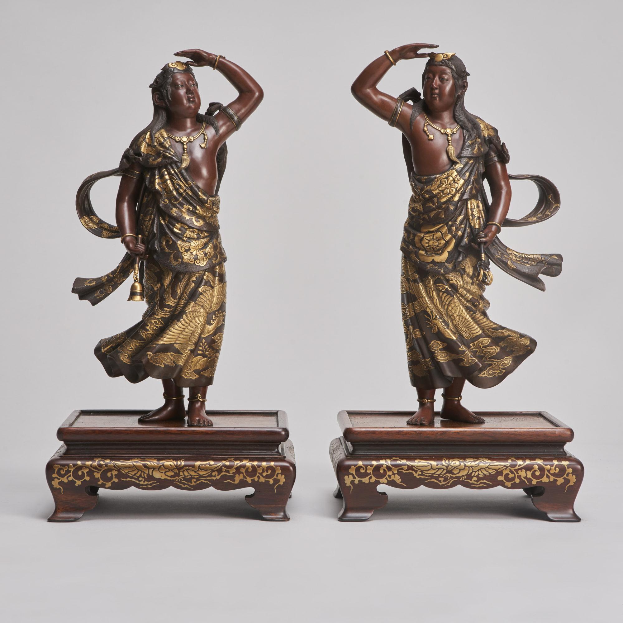Miyao Okimono pair   A captivating and elegant pair of Japanese Bronze figures of Deities signed Miyao