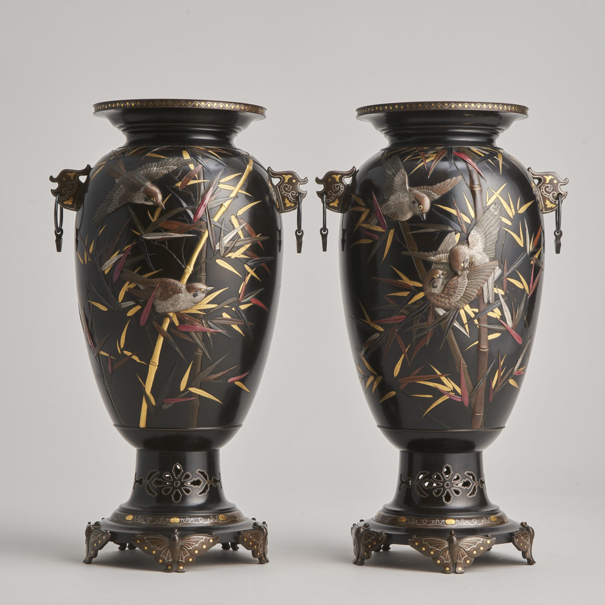 Suzuki Chokichi   An exceptional pair of antique Japanese Bronze and multi-metal vases made under the supervision of Suzuki Chokichi