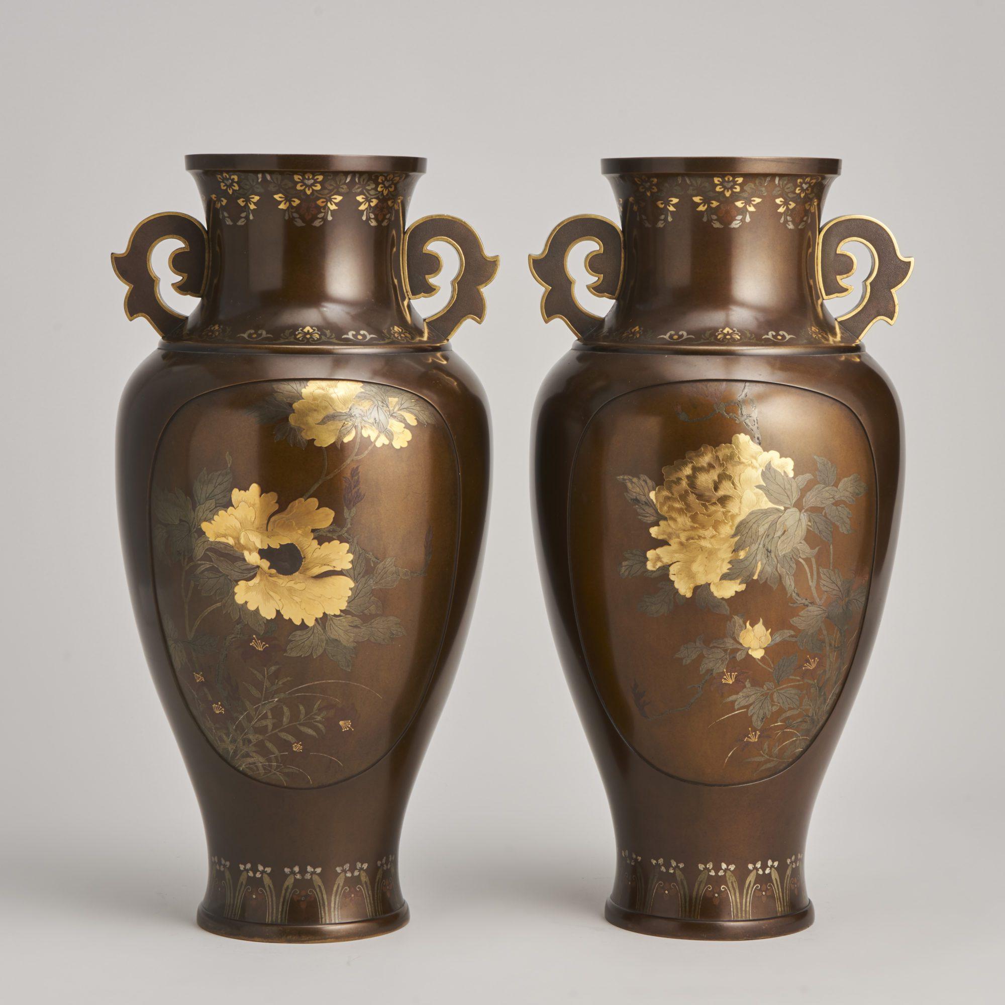 Multi metal flush inlaid vases   A beautiful pair of inlaid Japanese late 19th Century Bronze vases