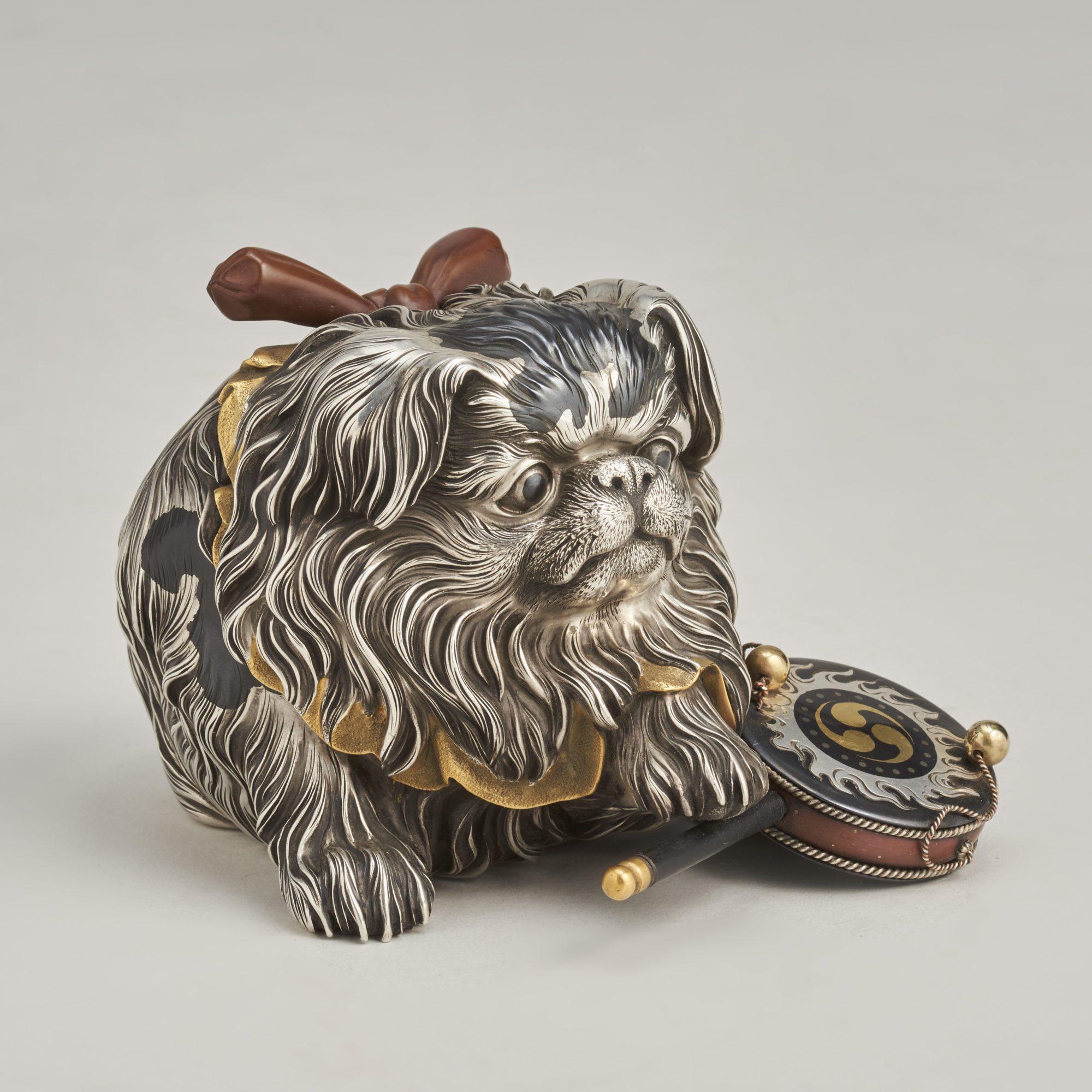Jomi Okimono   An exceptional Japanese, Meiji-era Silver Okimono of a puppy by Jomi